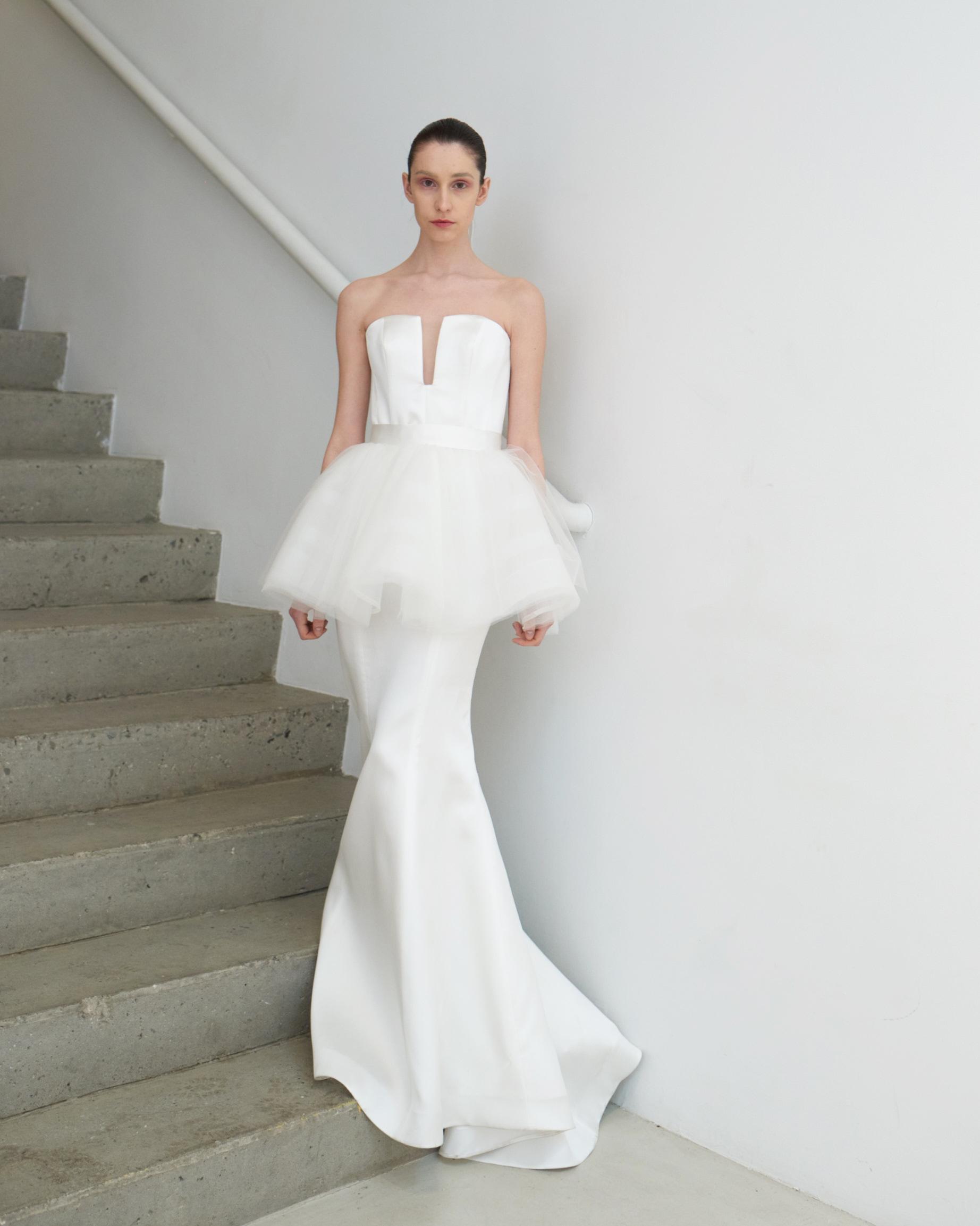 francesca miranda wedding dress spring 2019 strapless tulle satin column