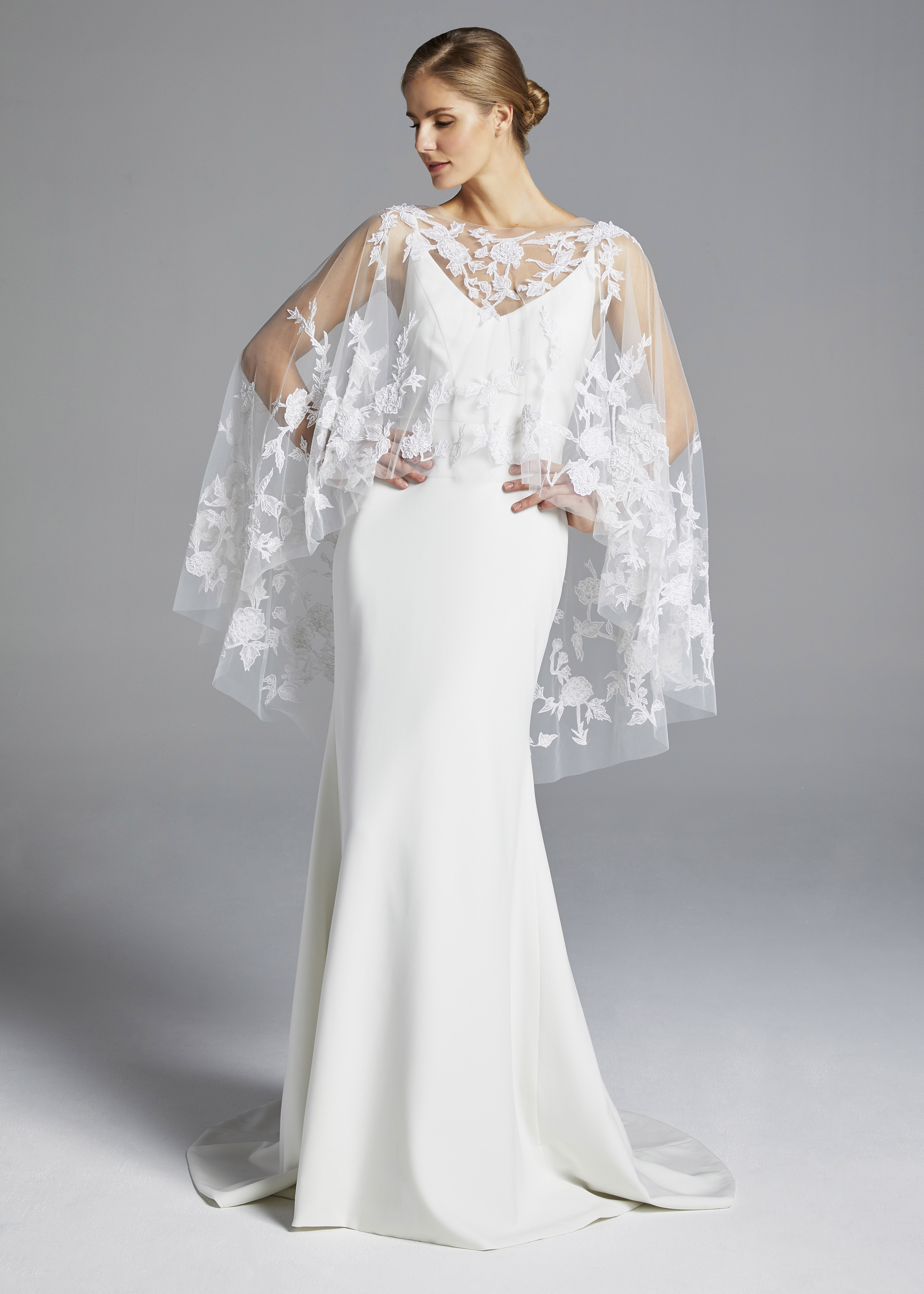 anne barge spaghetti strap with cape wedding dress spring 2019