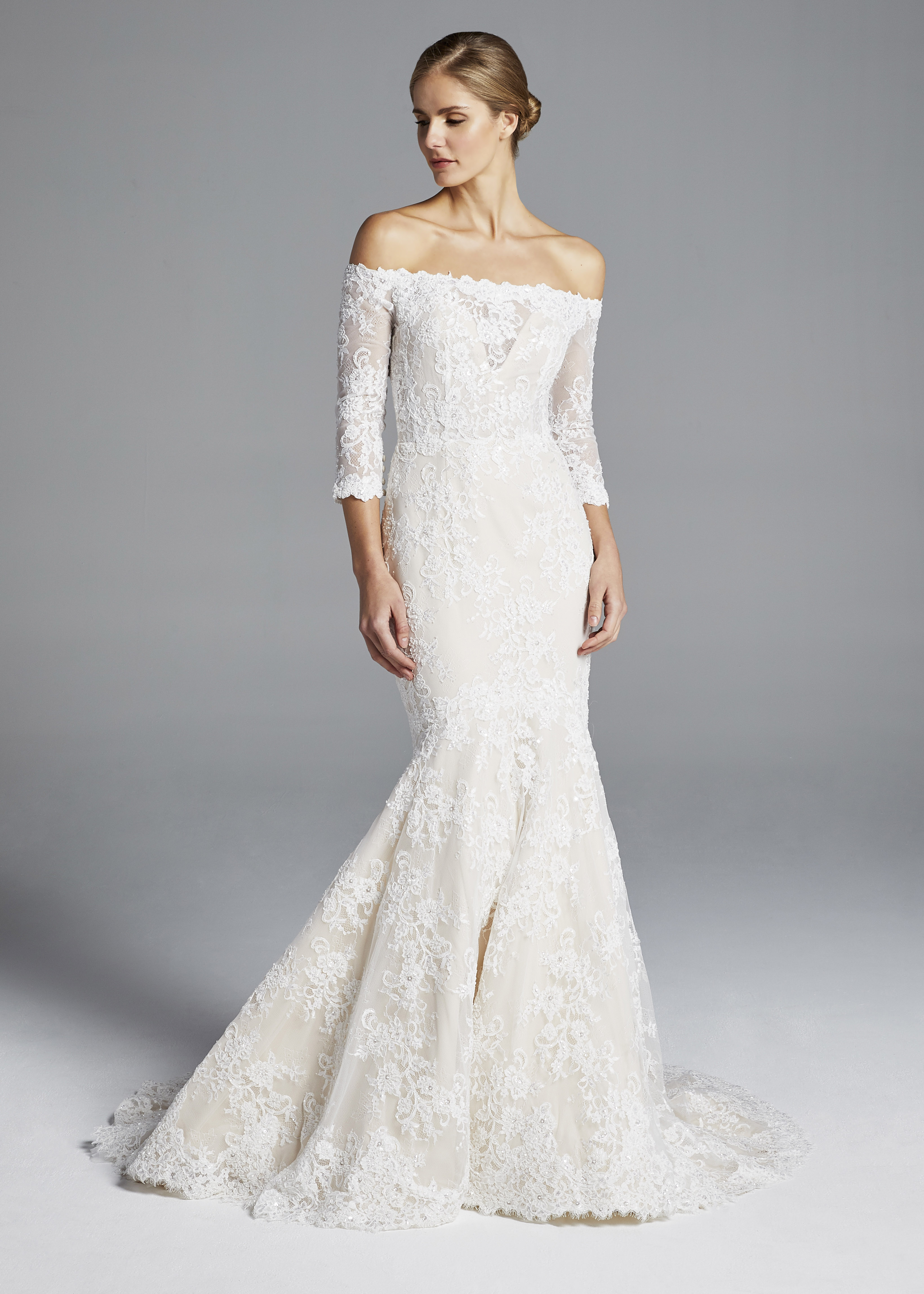 anne barge off the shoulder lace mermaid wedding dress spring 2019