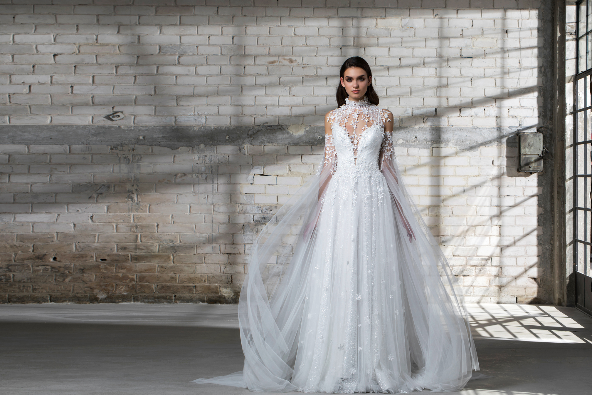 pnina tornai wedding dress spring 2019 a-line tulle long sleeves