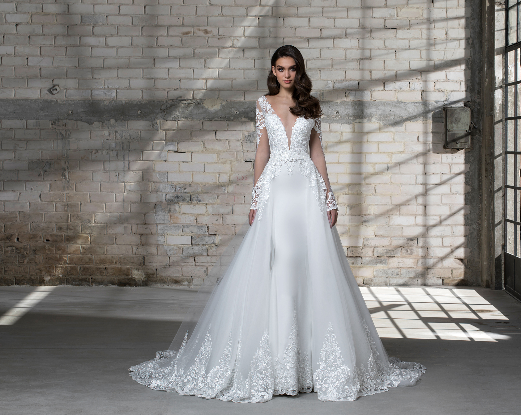 pnina tornai wedding dress spring 2019 deep v ta-line long sleeves