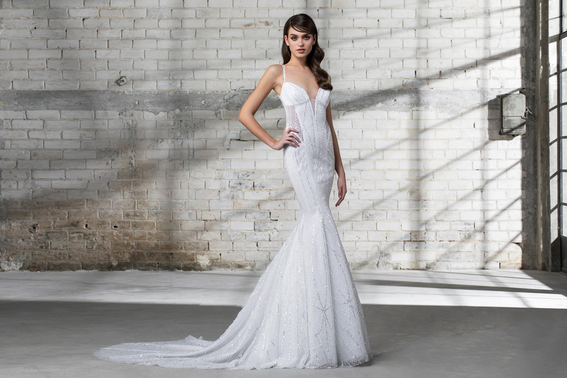 pnina tornai wedding dress spring 2019 spaghetti strap trumpet