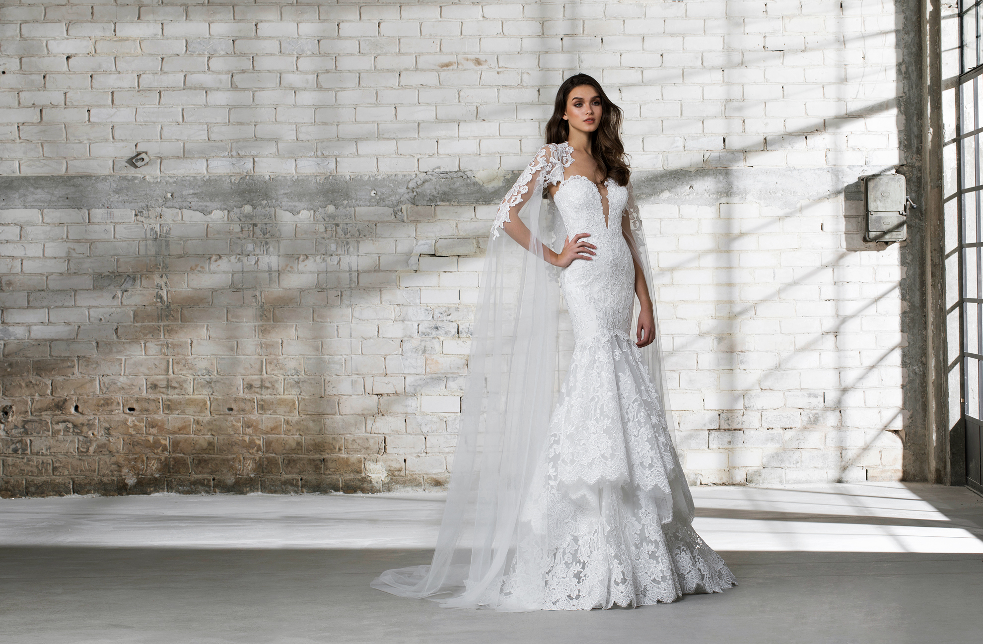 pnina tornai wedding dress spring 2019 lace trumpet cape