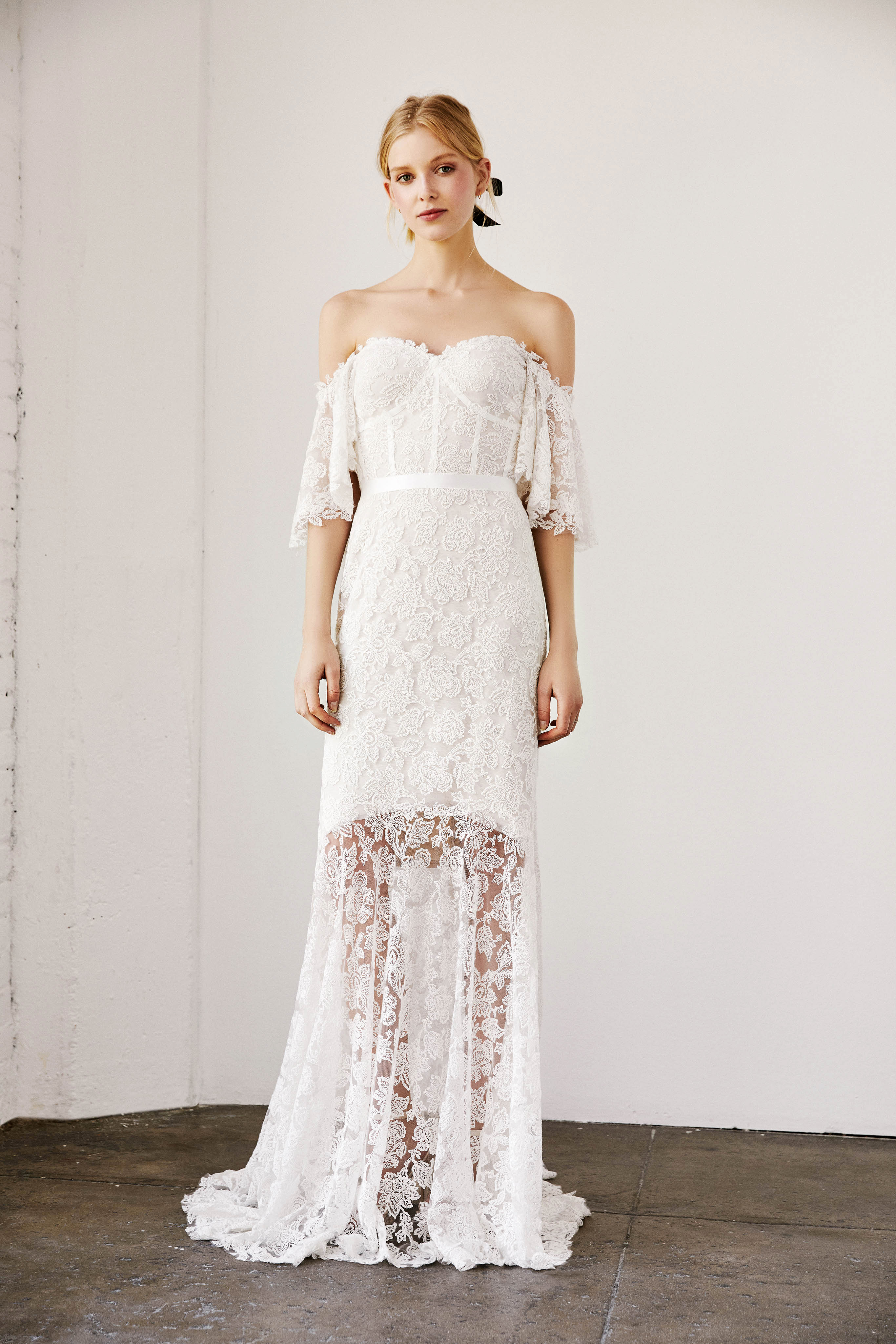 tadashi shoji wedding dress spring 2019 off the shoulder lace elbow length sleeves