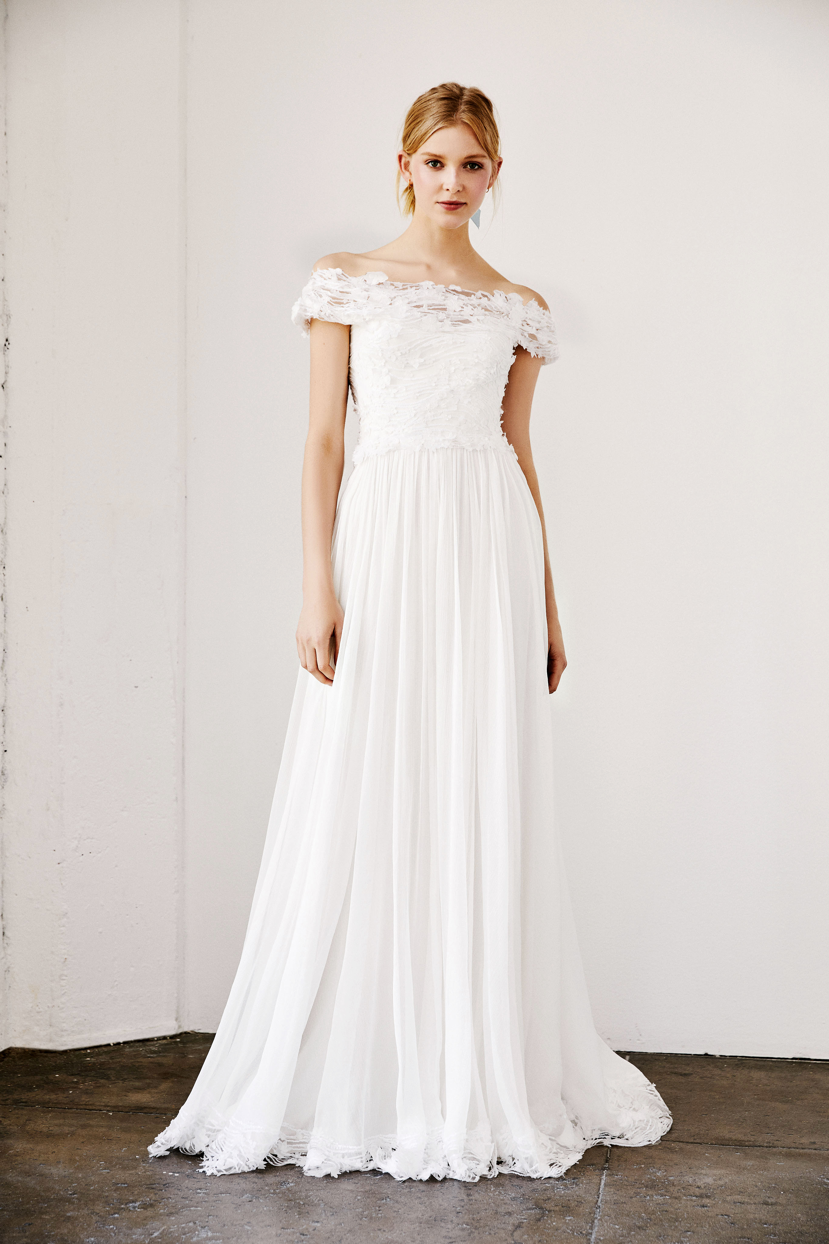 tadashi shoji wedding dress spring 2019 off the shoulder a-line