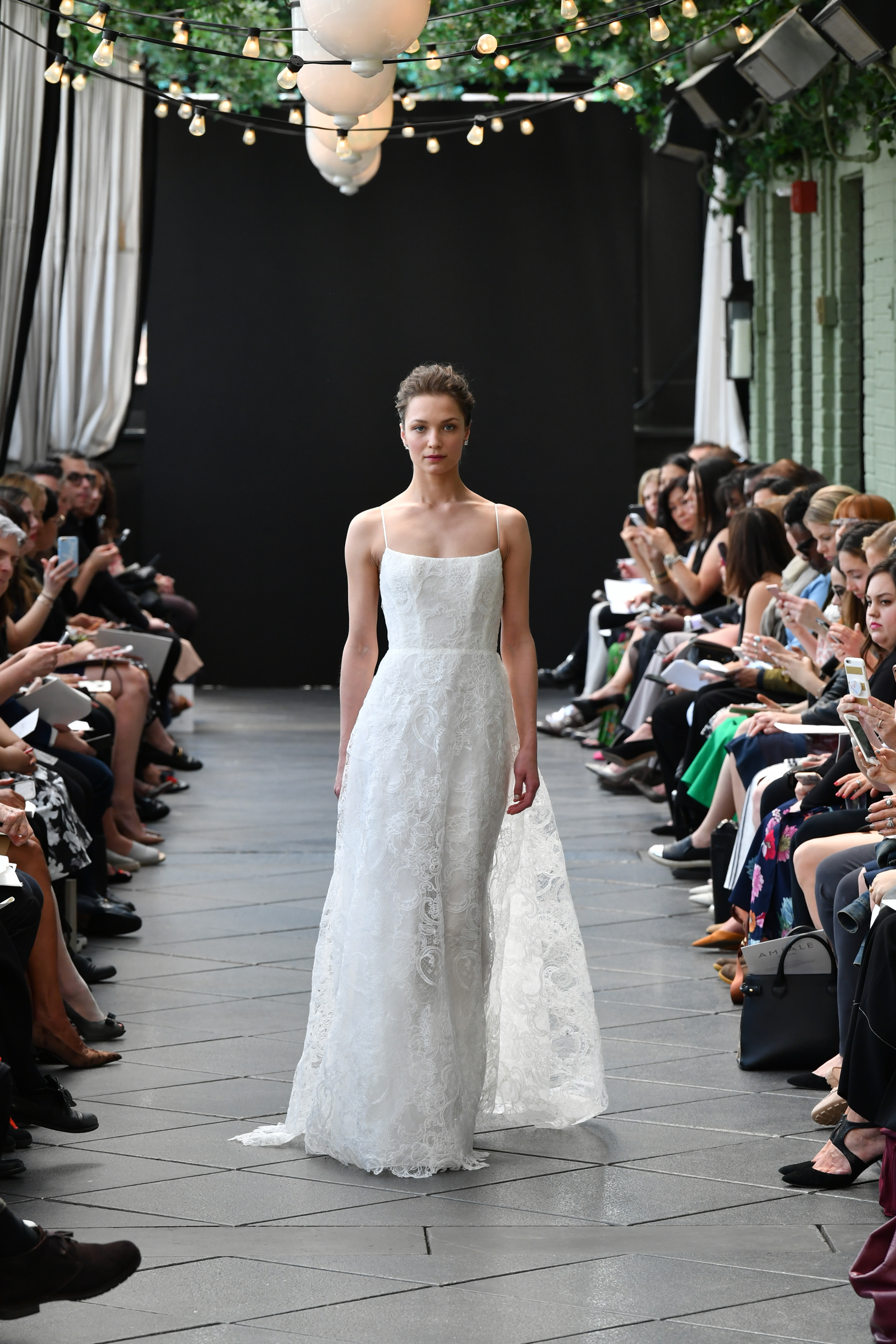amsale wedding dress spring 2019 lace spaghetti strap
