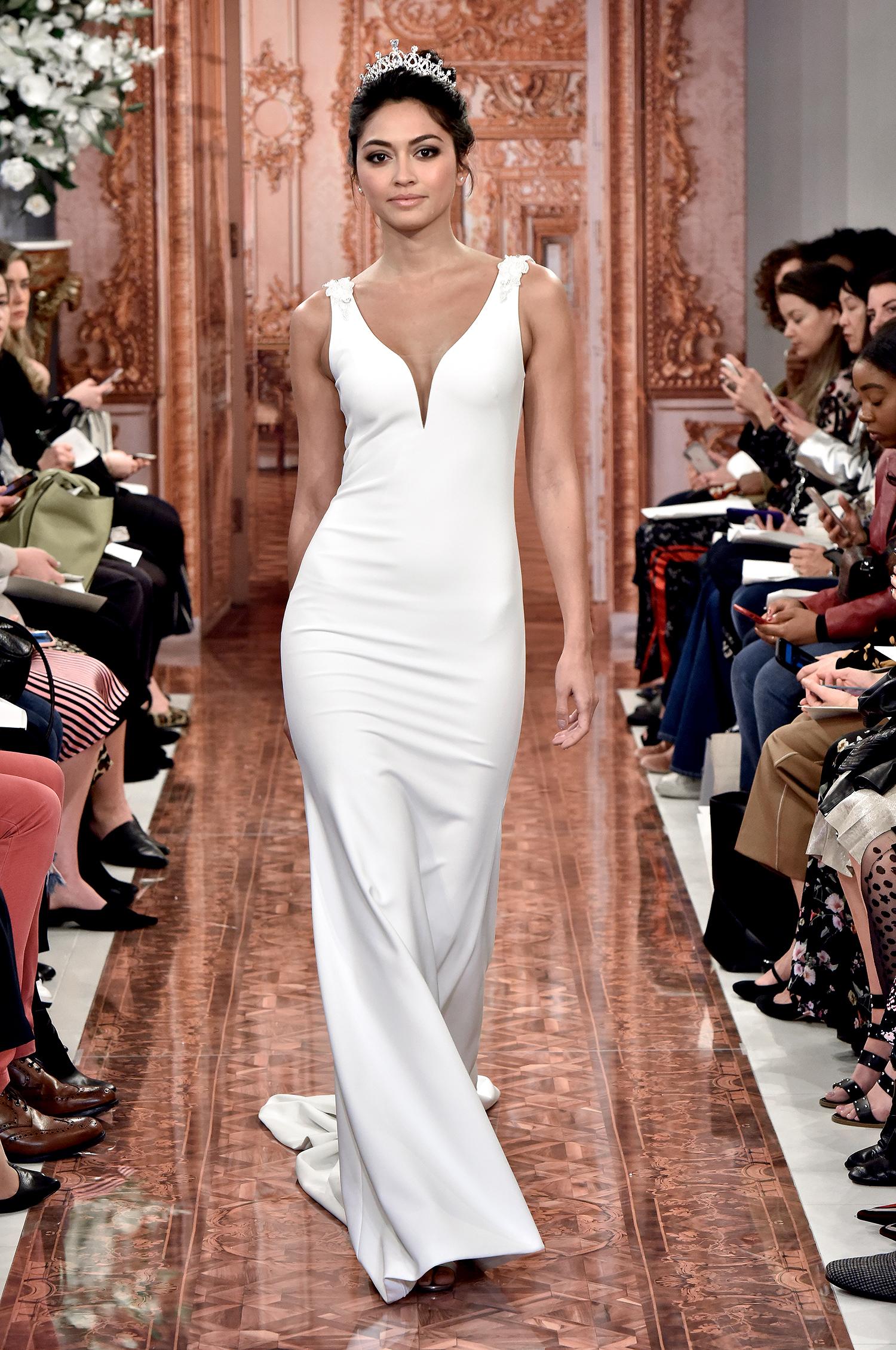 theia wedding dress spring 2019 deep v-neck shoulder detail