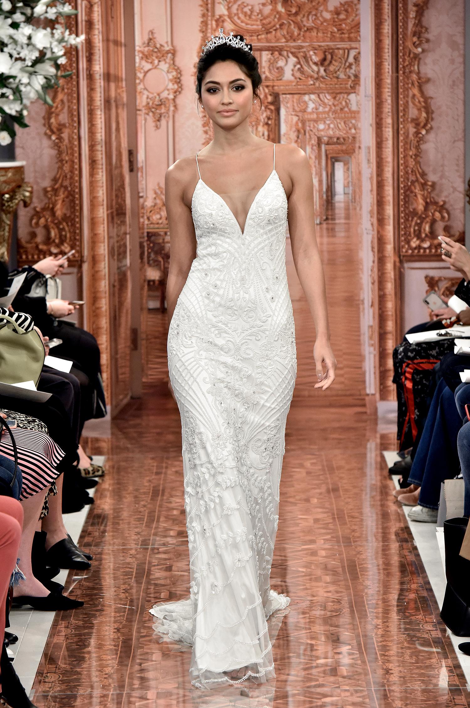 theia wedding dress spring 2019 spaghetti strap beaded overlay