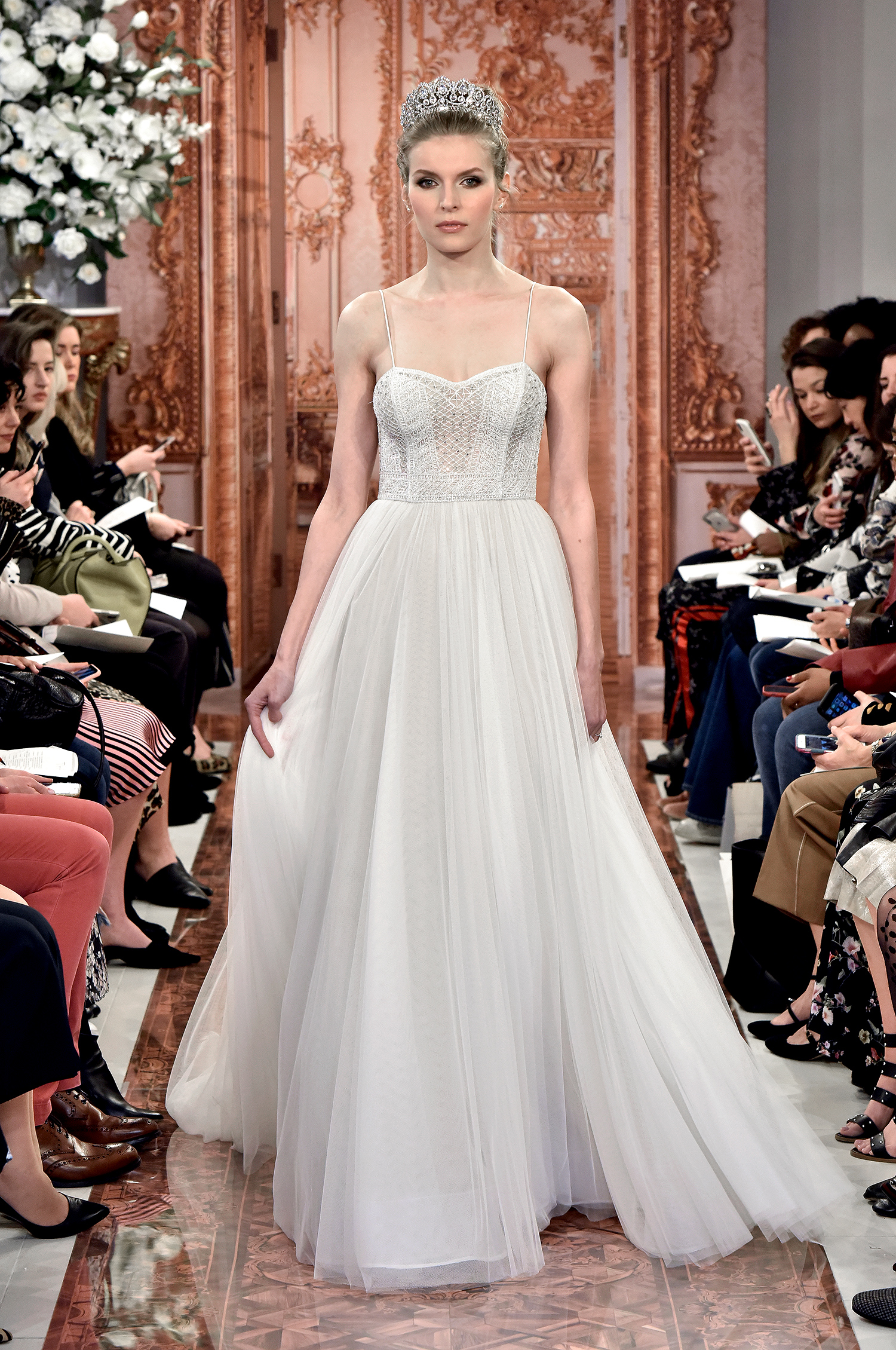 theia wedding dress spring 2019 spaghetti strap corseted bodice