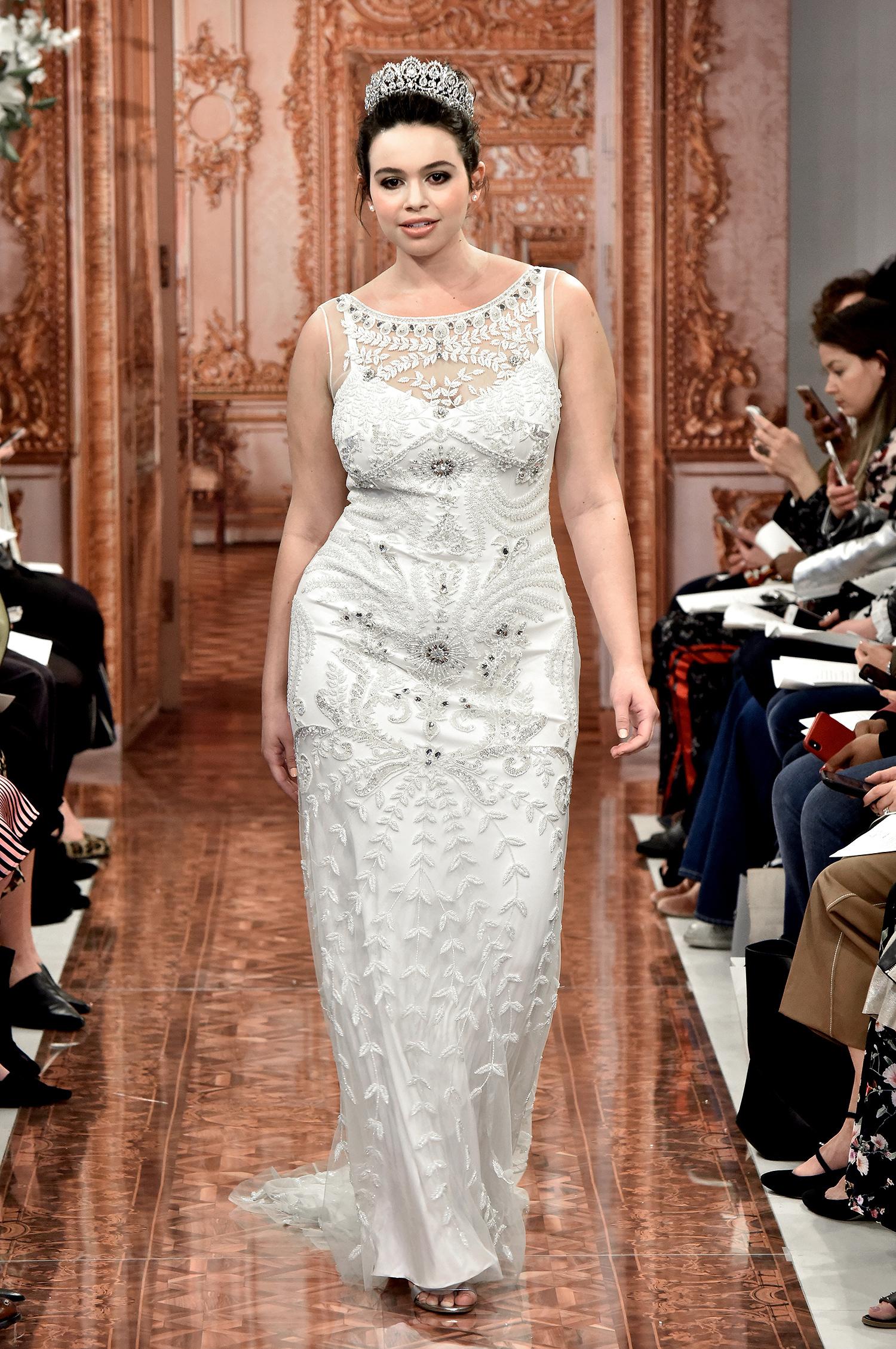 theia wedding dress spring 2019 illusion neck beaded sheath