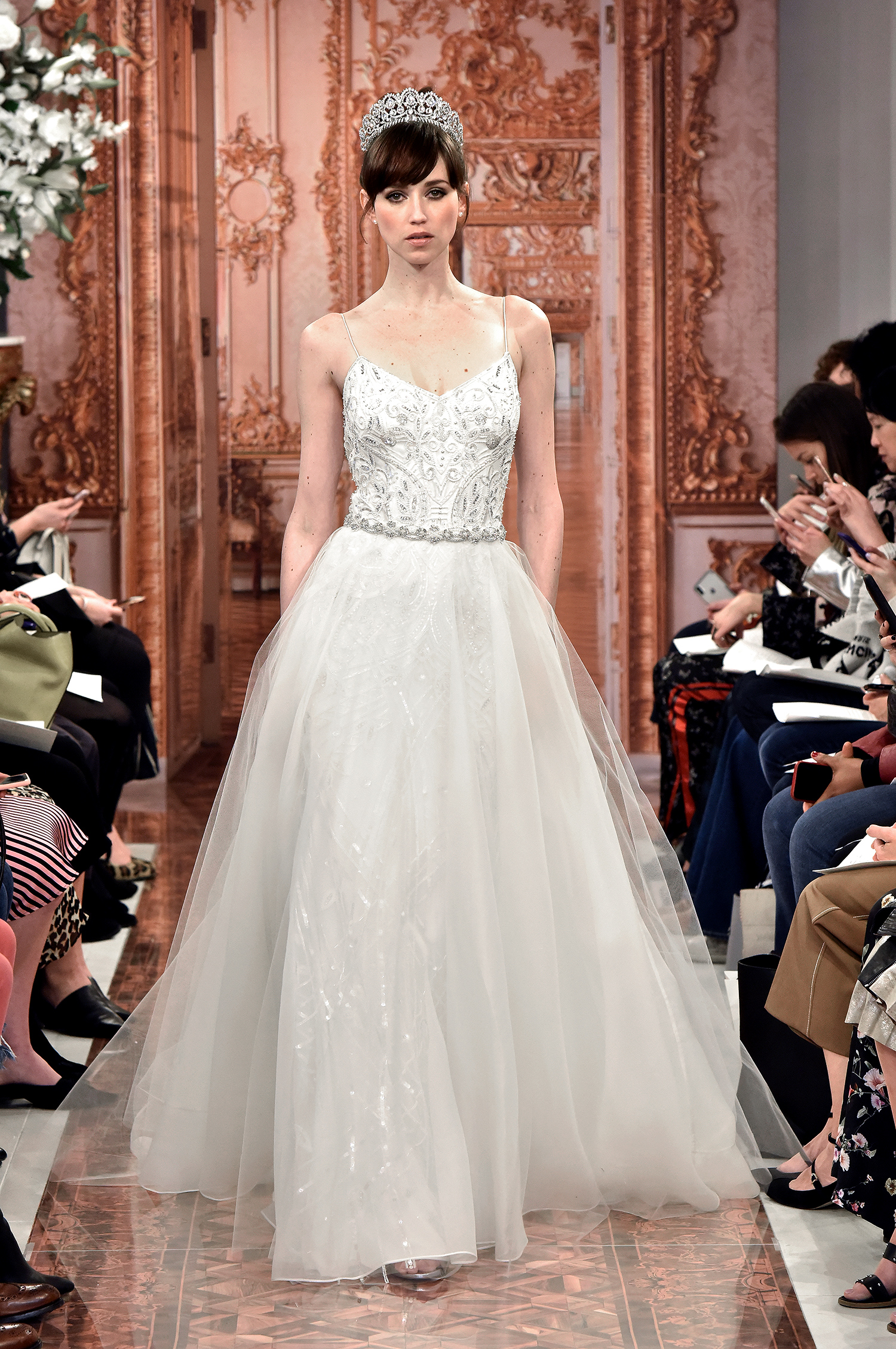 theia wedding dress spring 2019 spaghetti strap ball gown