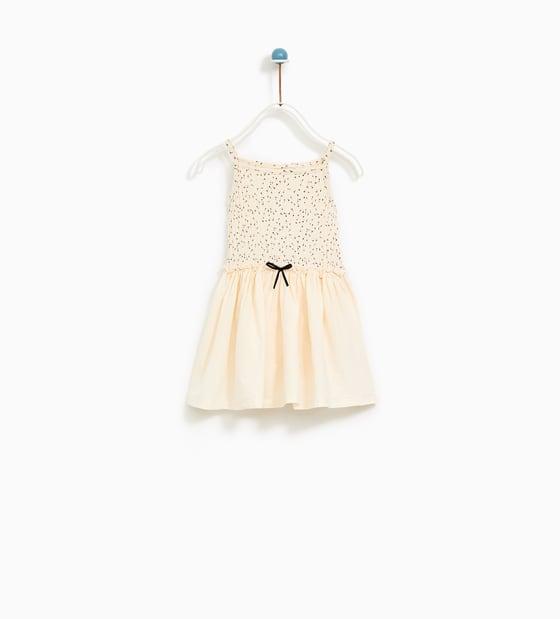 White Zara Dress with Black Bow for Flower Girl