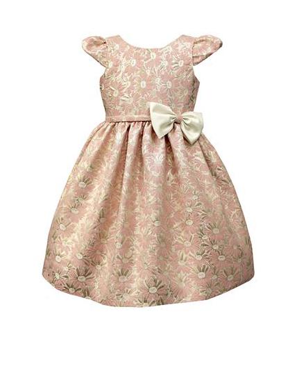 pink flower girl dress white bow