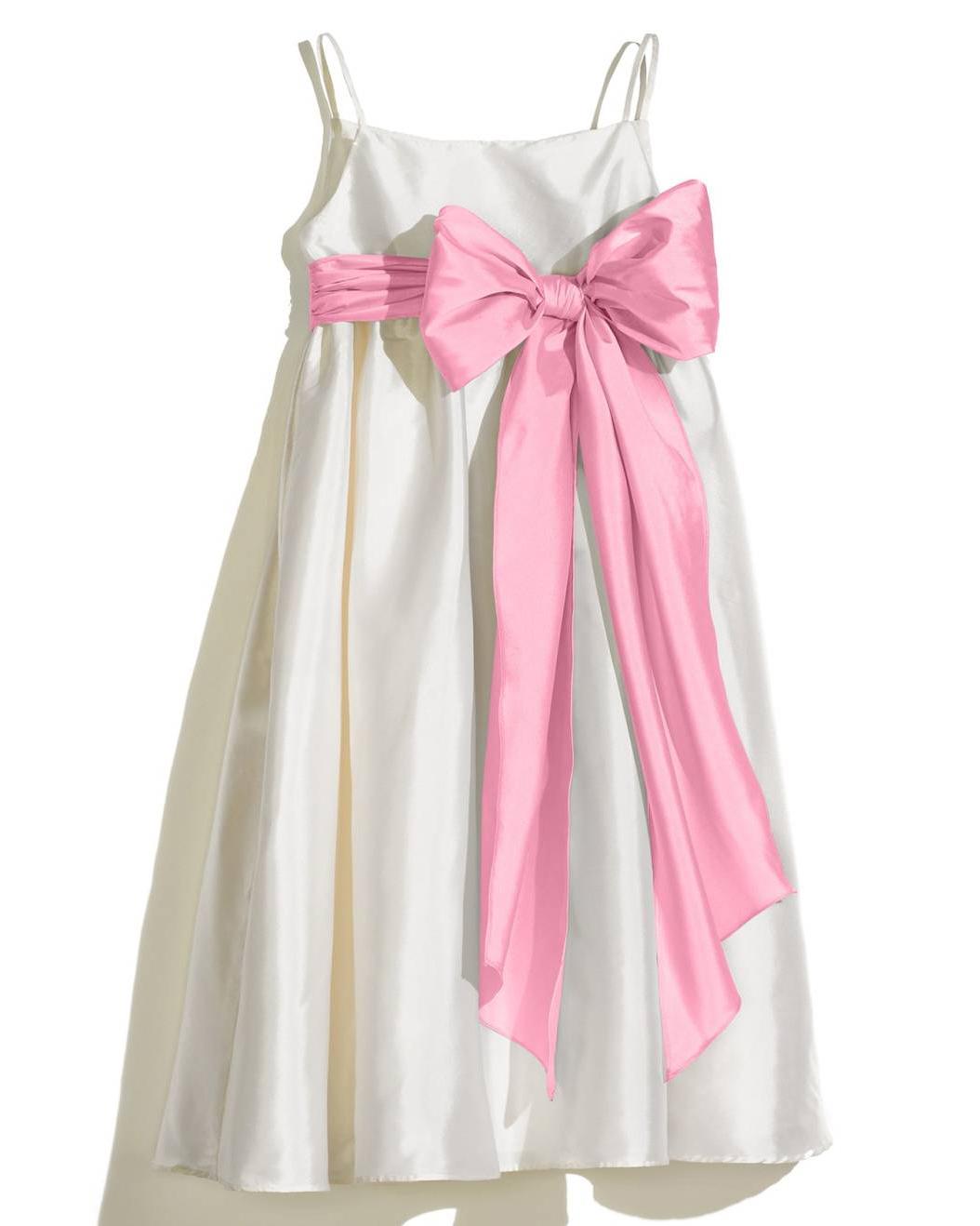 white flower girl dress pink bow