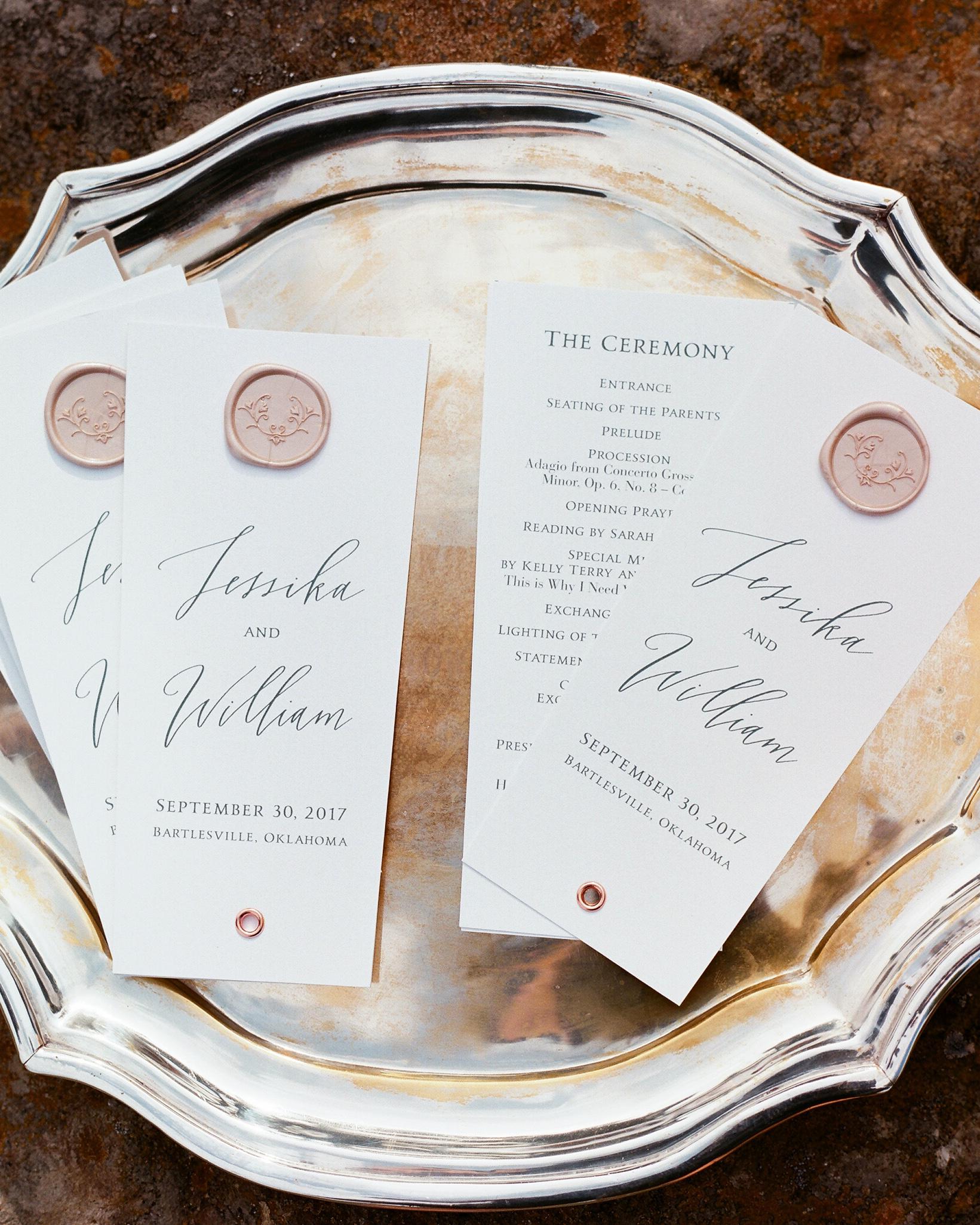 jessika william wedding programs