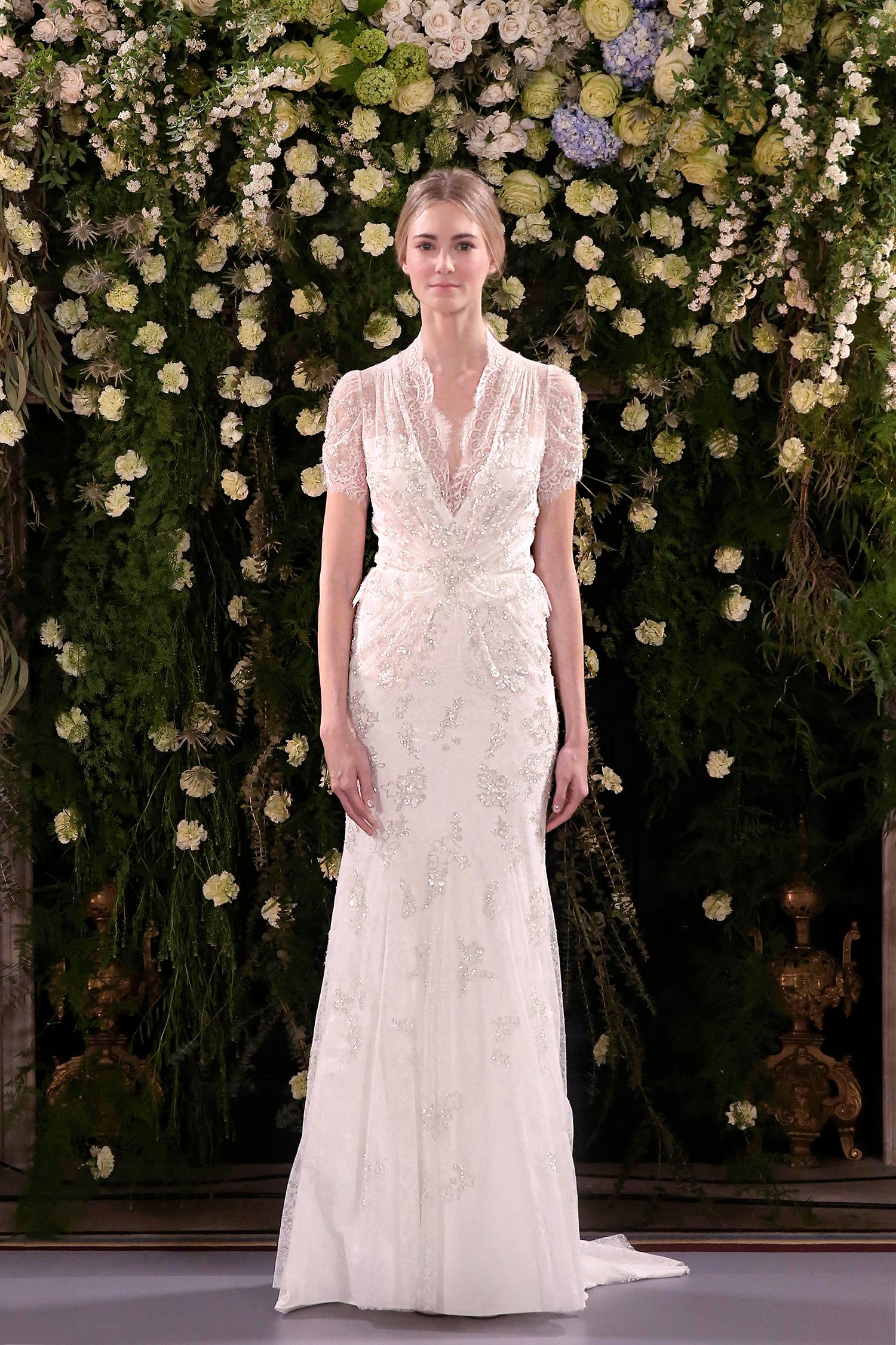 jenny packham wedding dress spring 2019 layered short-sleeved sheath