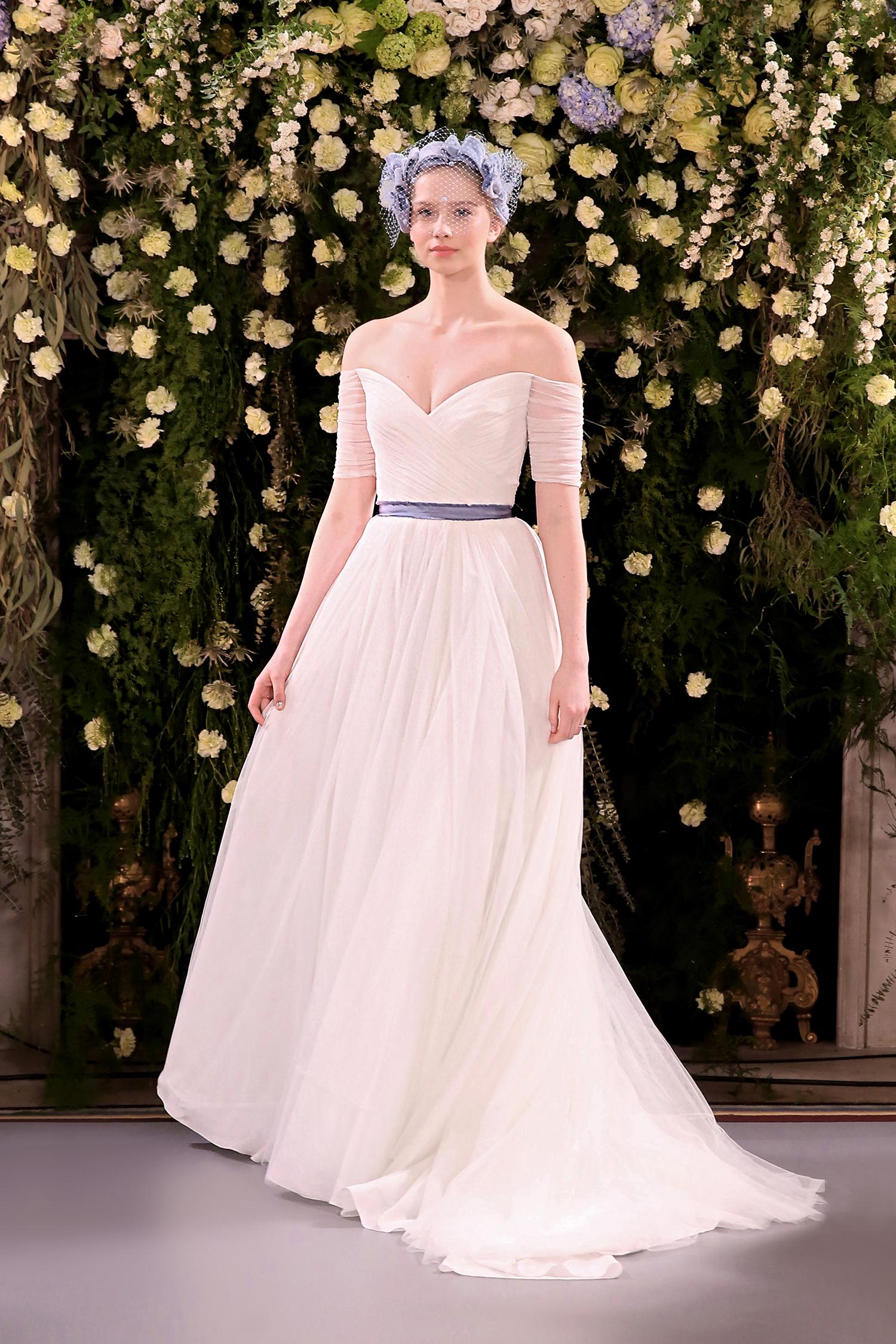 jenny packham wedding dress spring 2019 belted off-the-shoulder