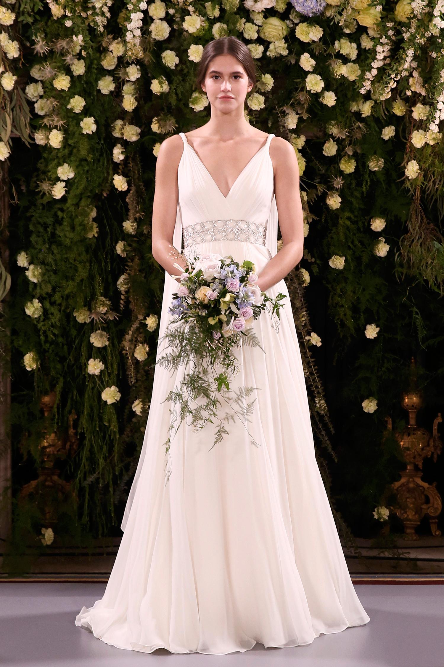 jenny packham wedding dress spring 2019 embellished belt and back fabric