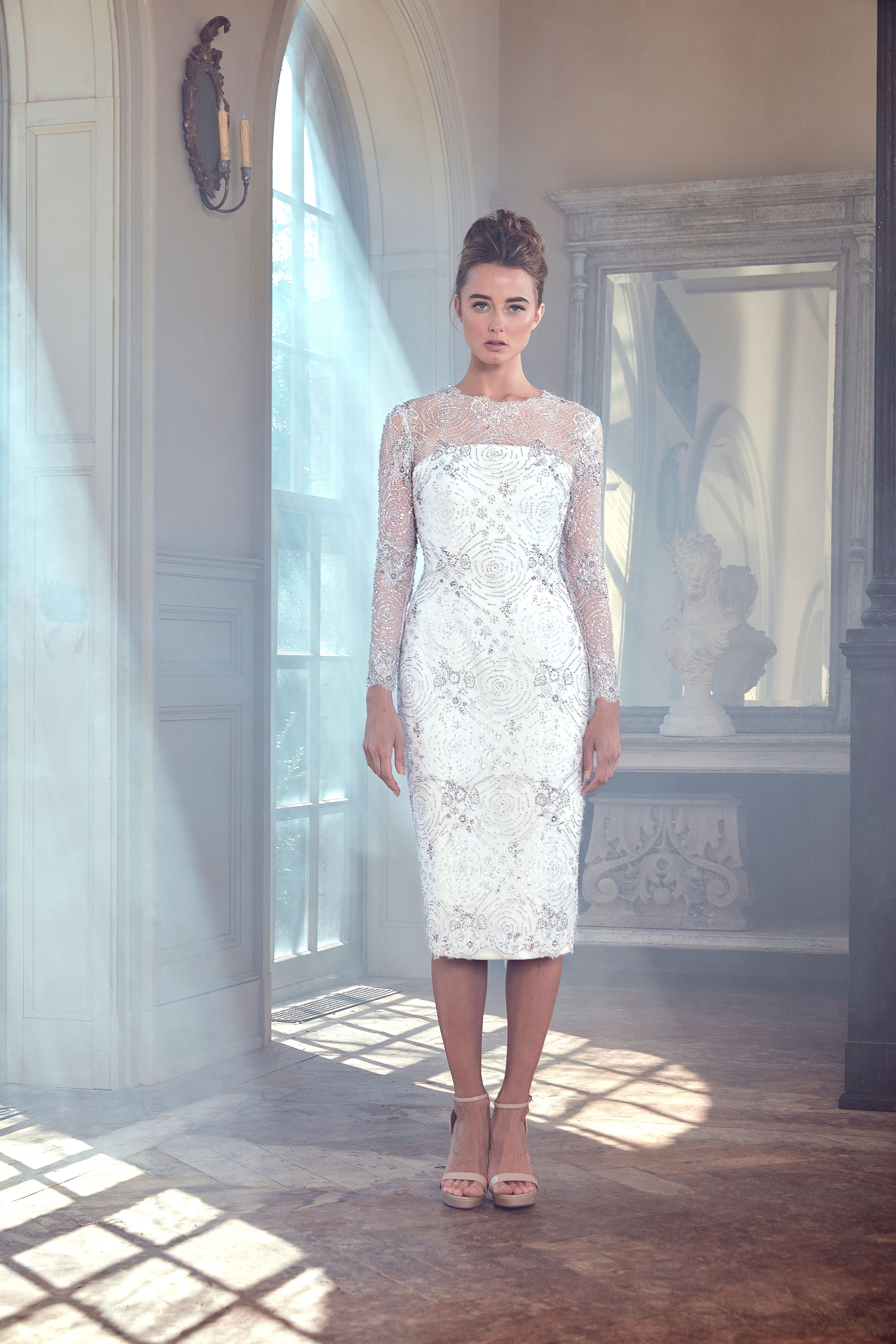 sareh nouri wedding dress spring 2019 knee length long sleeves illusion