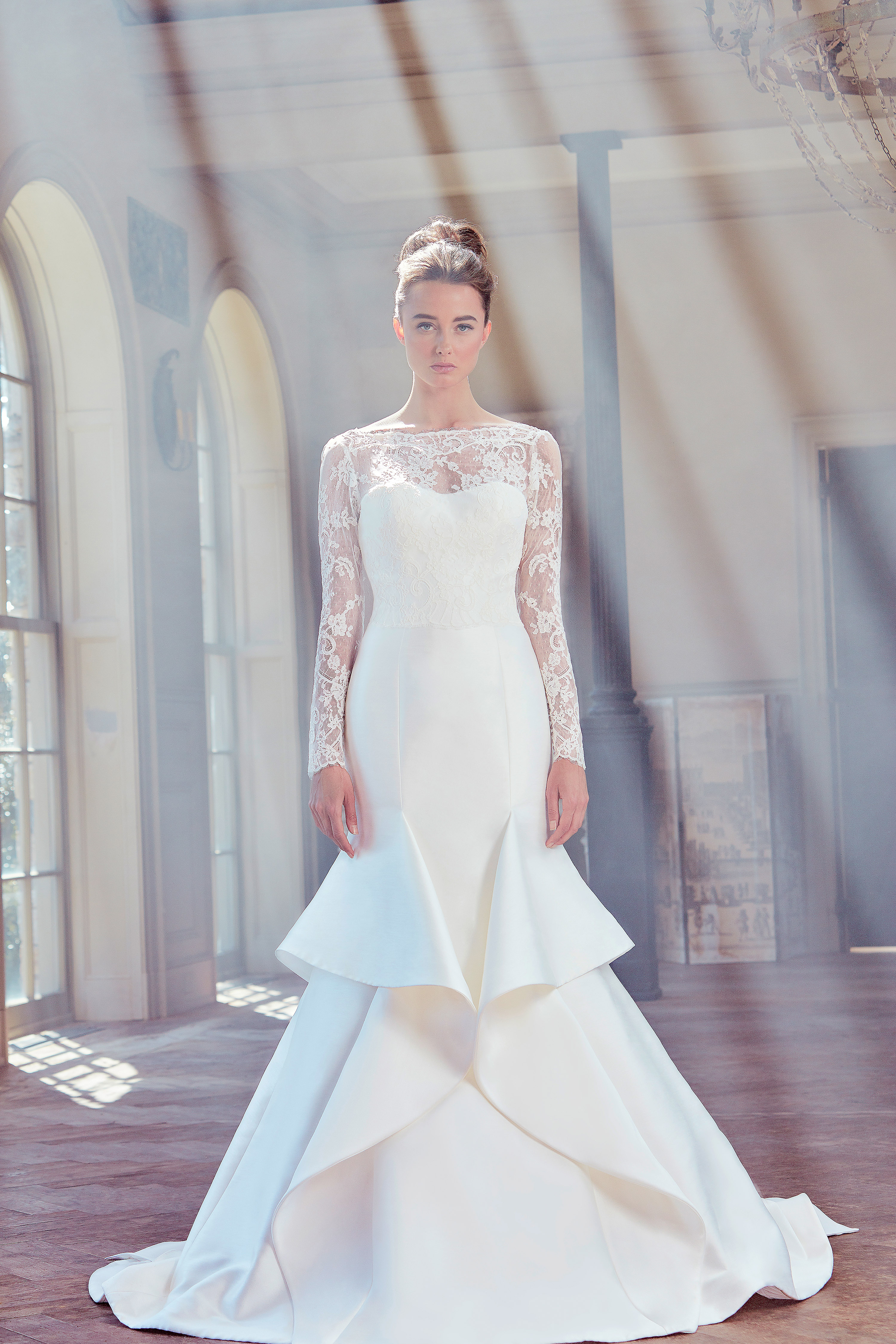 sareh nouri wedding dress spring 2019 ruffles a-line long sleeves illusion