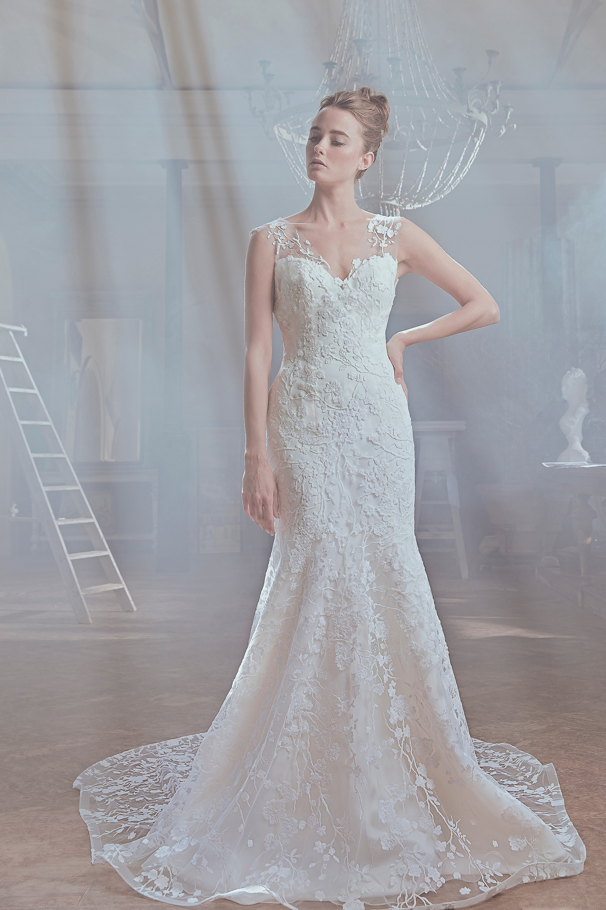 sareh nouri wedding dress spring 2019 floral lace sheer shoulder mermaid