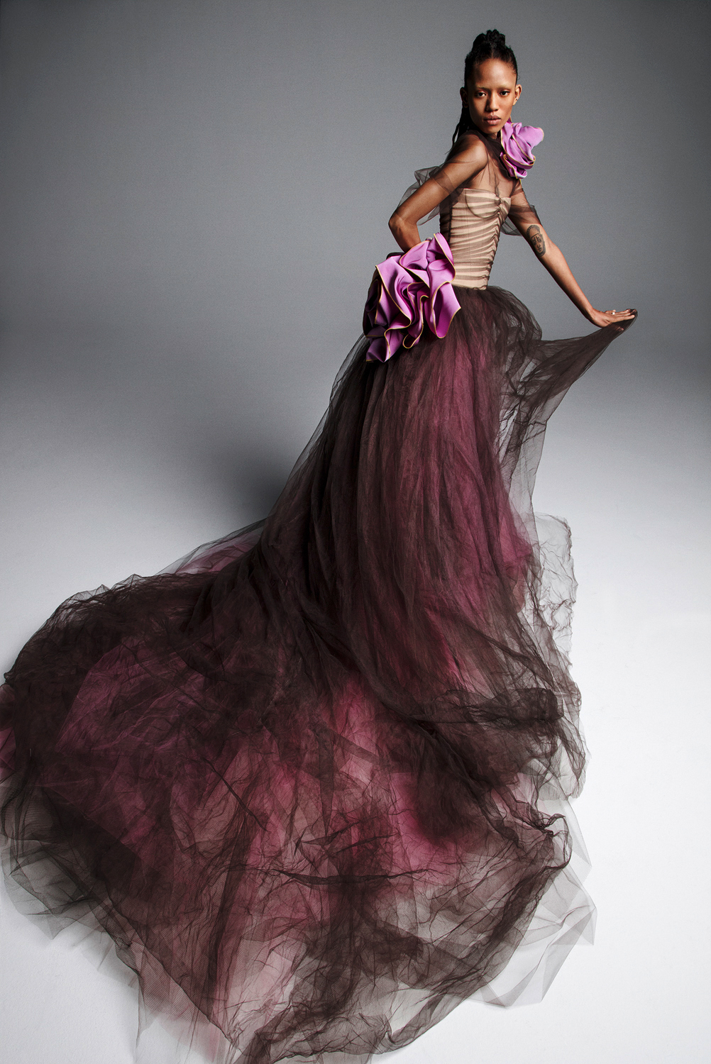 vera wang wedding dress spring 2019 purple burgandy tulle strapless ball gown