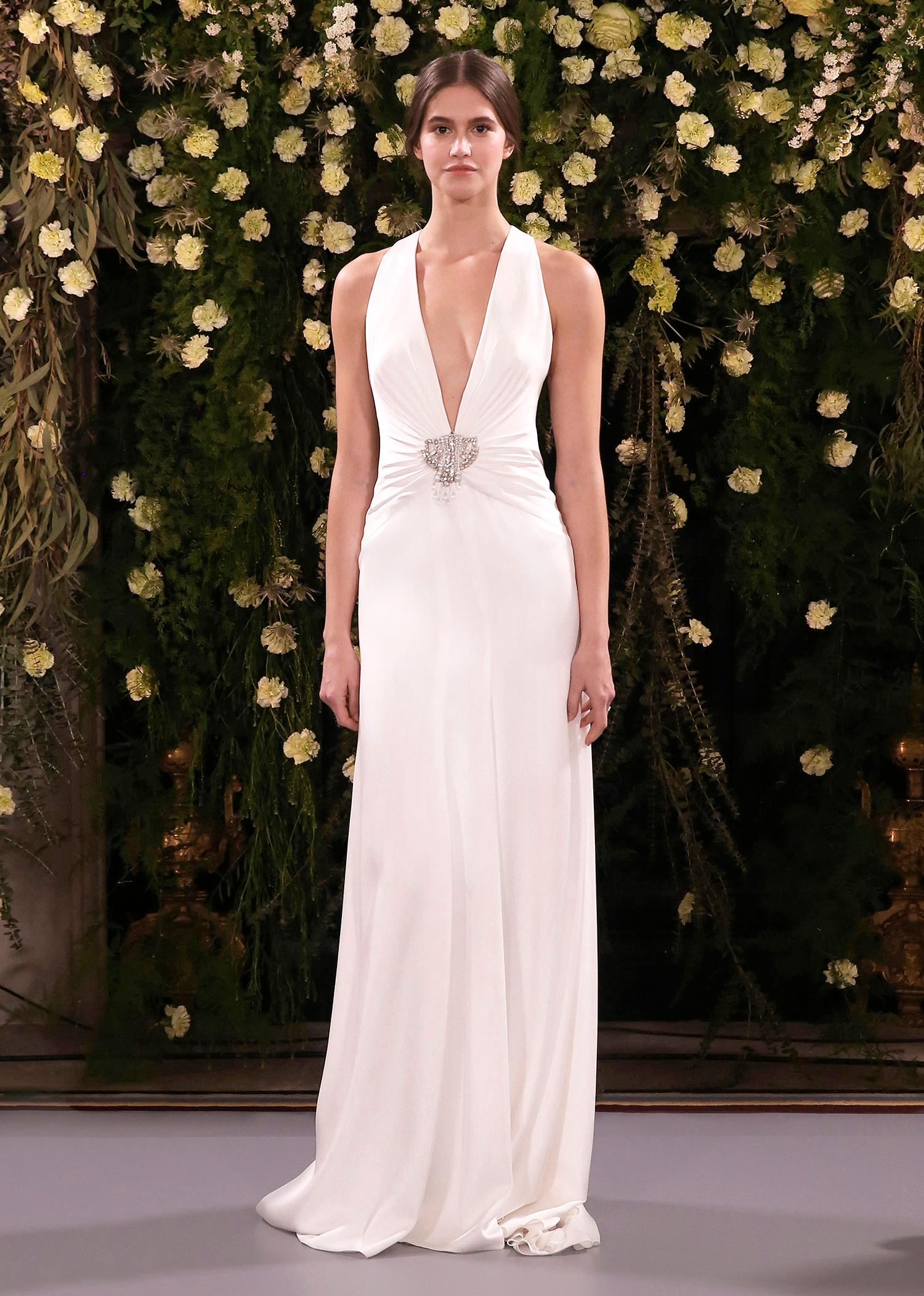 jenny packham wedding dress spring 2019 deep v-neck with front embellishment
