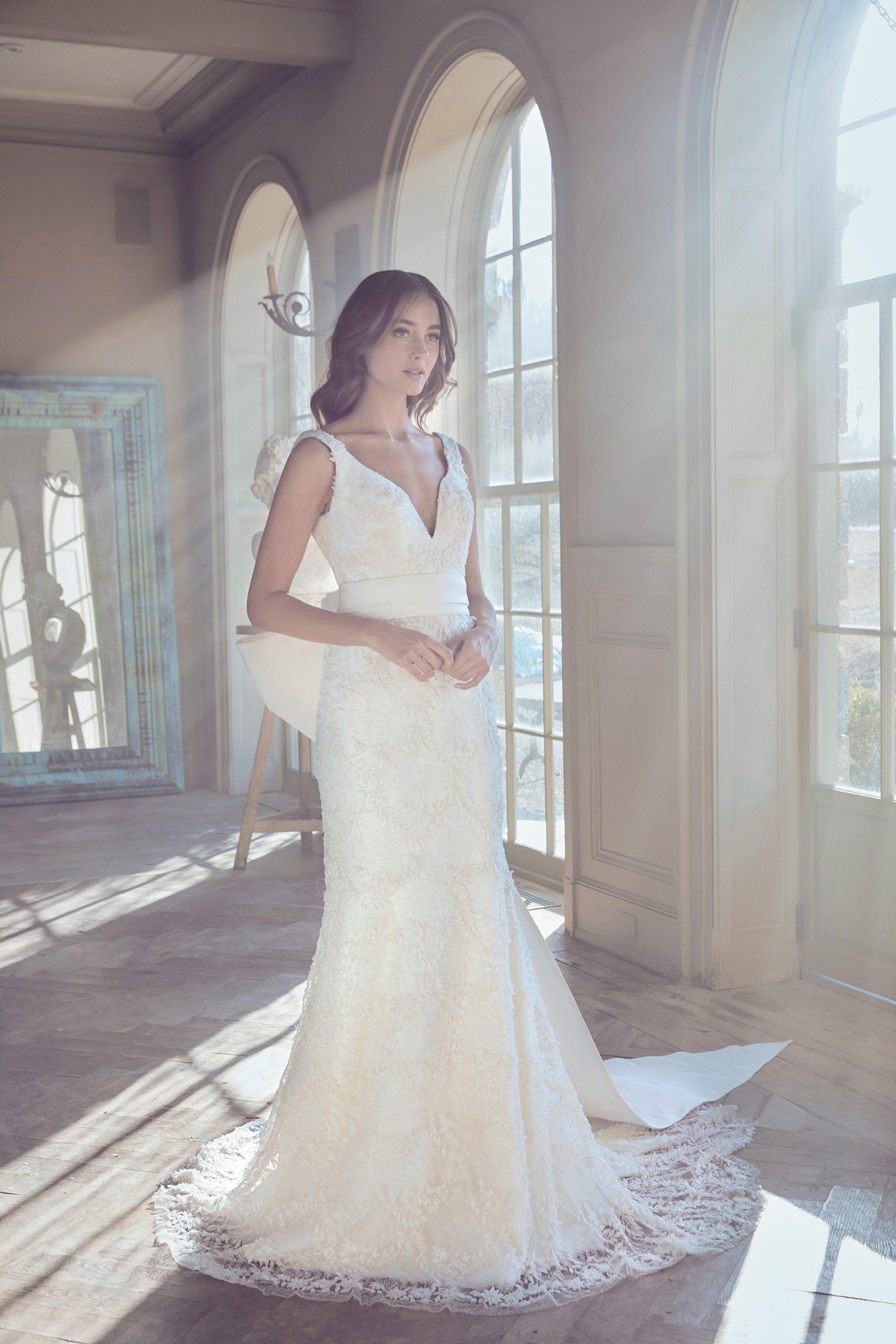 sareh nouri wedding dress spring 2019 v-neck floral lace dress with bow belt