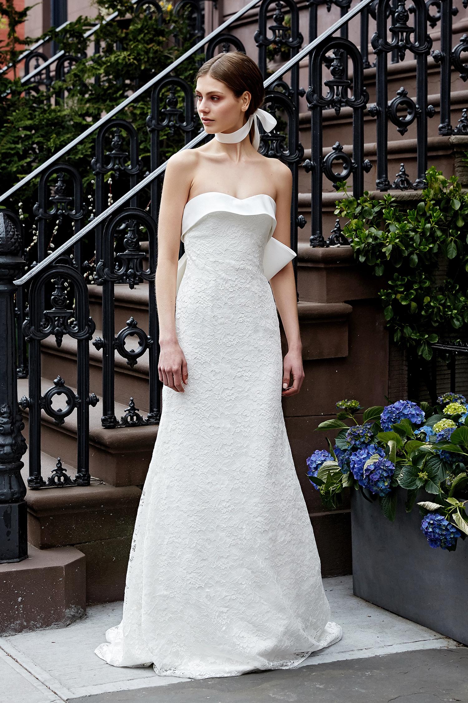 lela rose wedding dress spring 2019 strapless a-line back bow accent