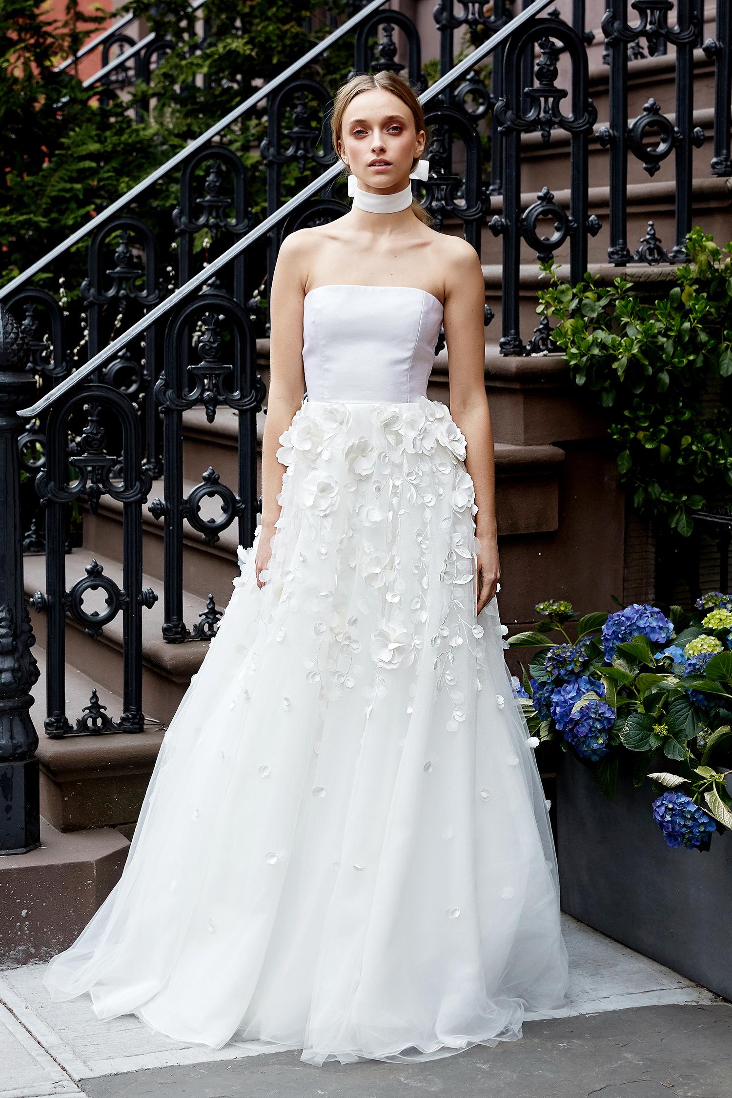 lela rose wedding dress spring 2019 strapless applique layered skirt