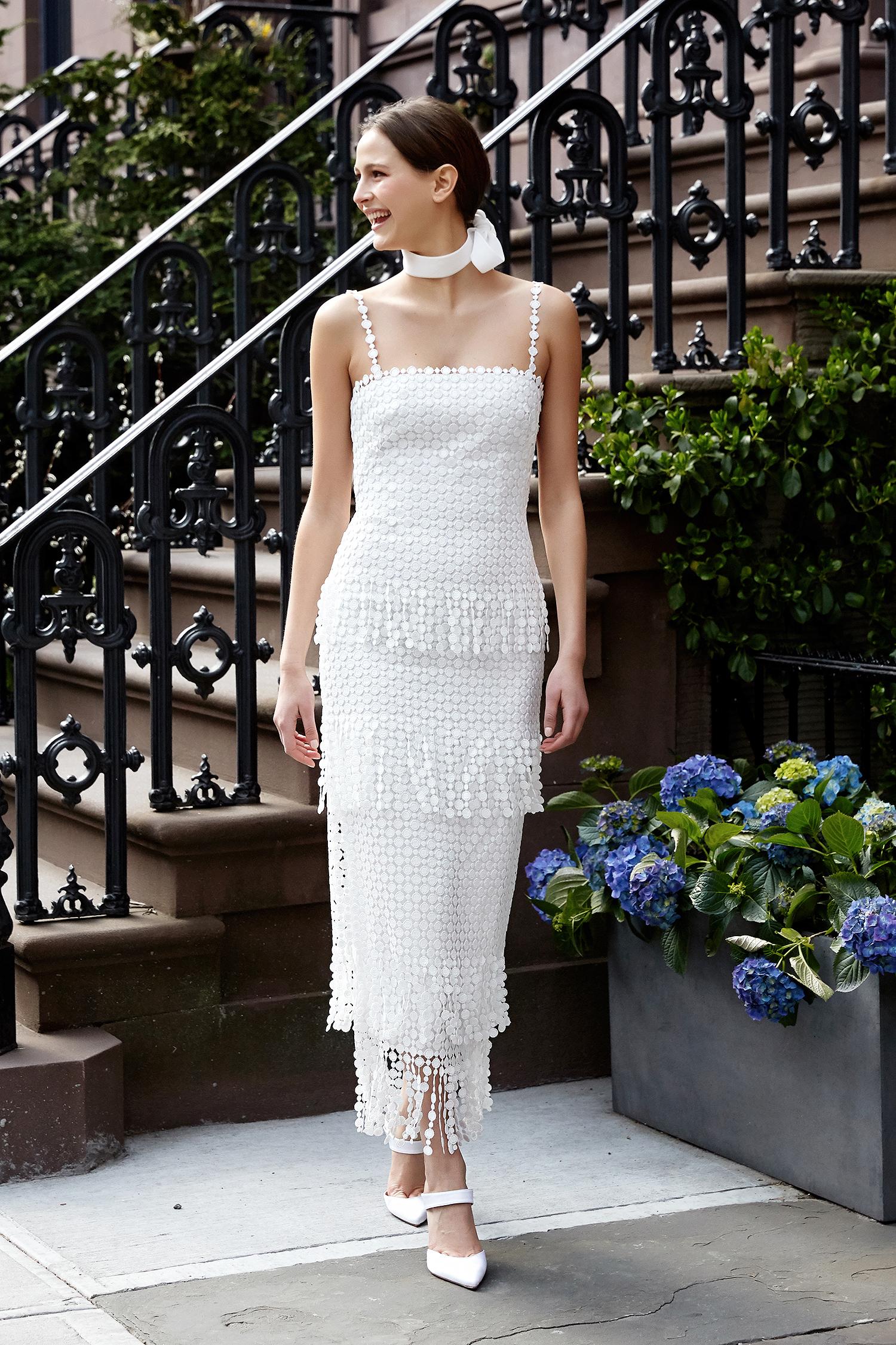 lela rose wedding dress spring 2019 spaghetti strap tiered pattern