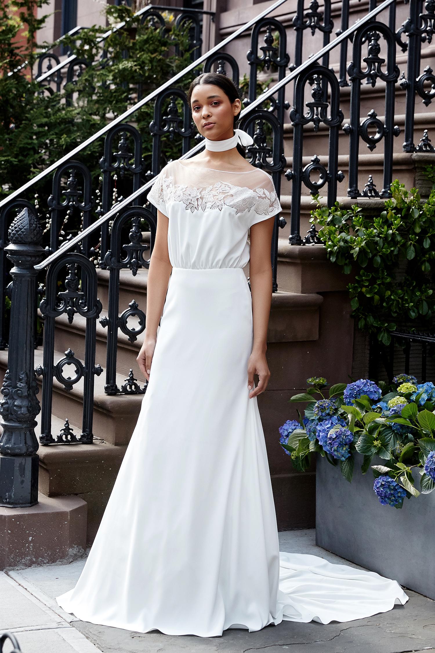 lela rose wedding dress spring 2019 flouncy bodice cap sleeve