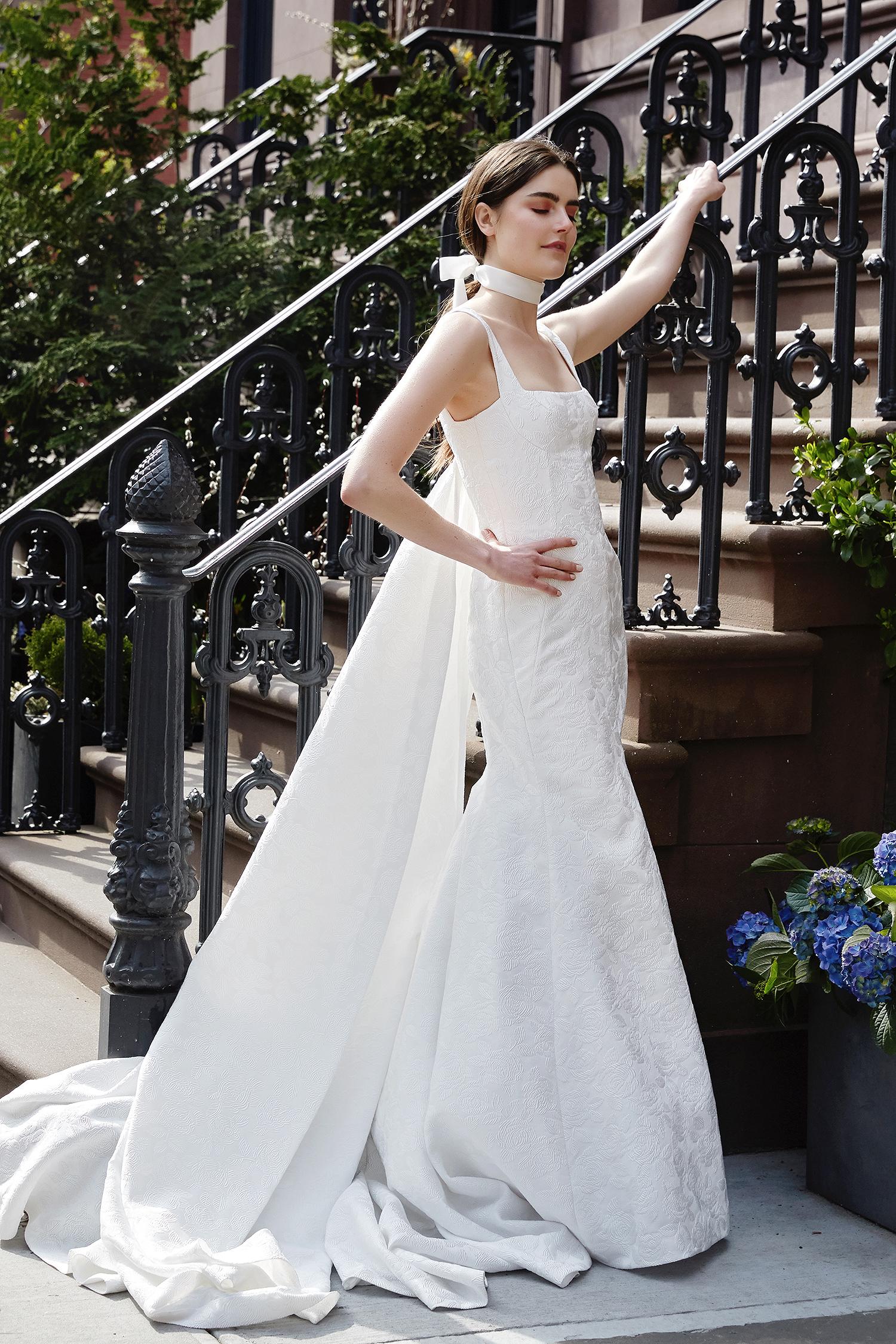 lela rose wedding dress spring 2019 square neck trumpet with cape