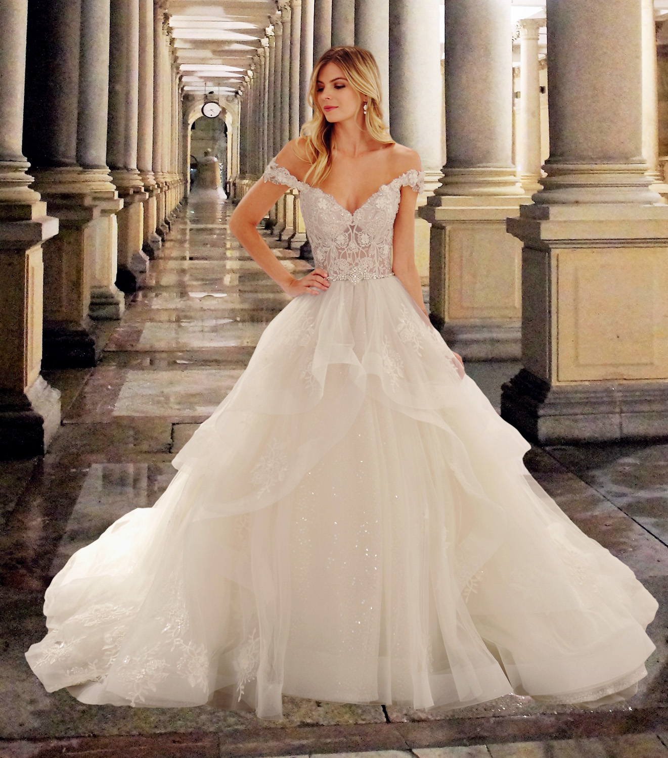Eve of Milady wedding dress spring 2019 sweetheart off-the shoulder tier ballgown