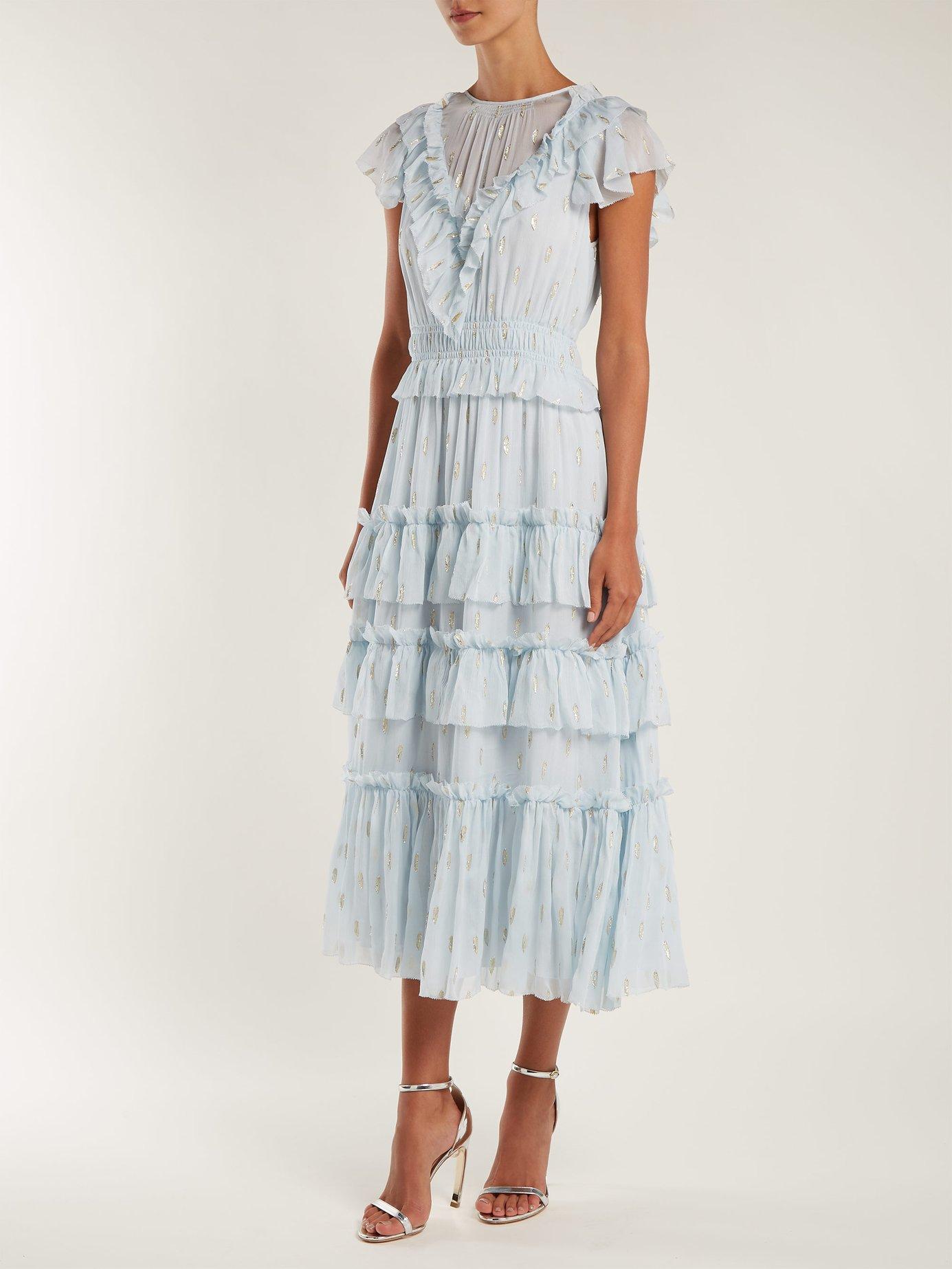 rebecca taylor ruffled fil coupe dress