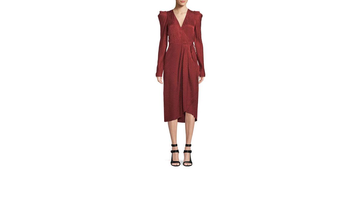 alc carolina pleated long sleeve silk wrap dress