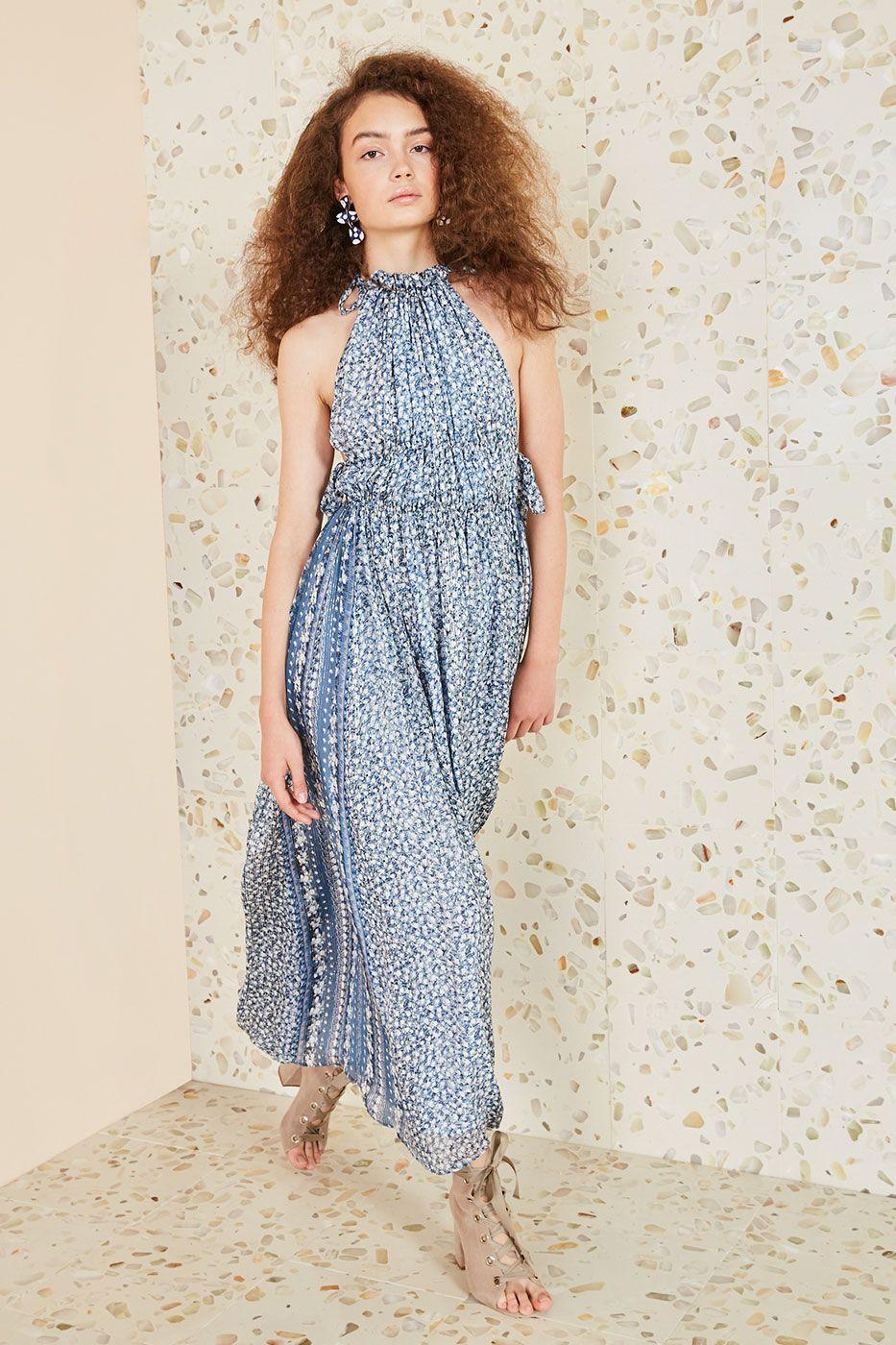 ulla johnson blue floral augustine dress