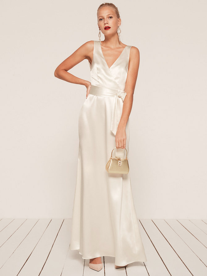 white silk bridesmaid gown