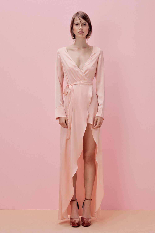 pink long sleeve silk wedding gown