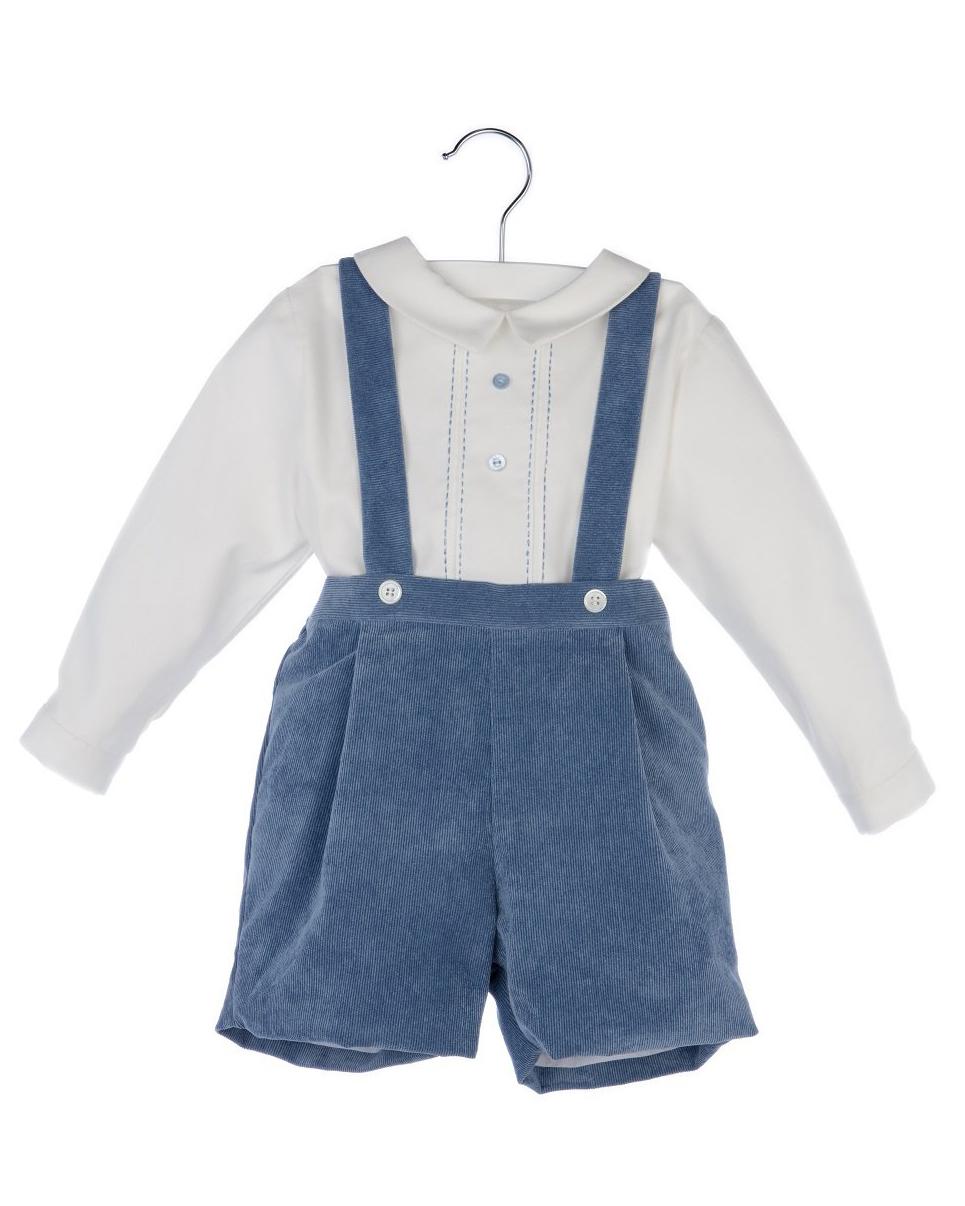 Luli & Me Blue Suspender Pants Set