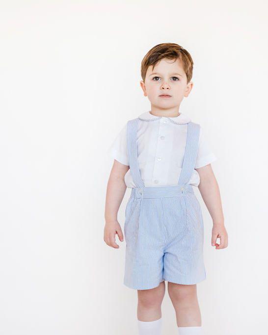 Florence Eiseman Seersucker Suspender Short and Shirt Set