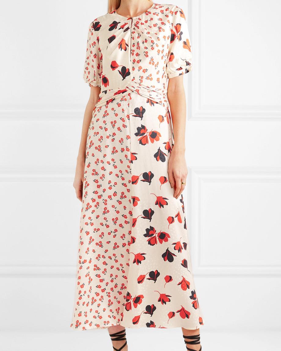 Self-Portrait Paneled Floral Print Dress