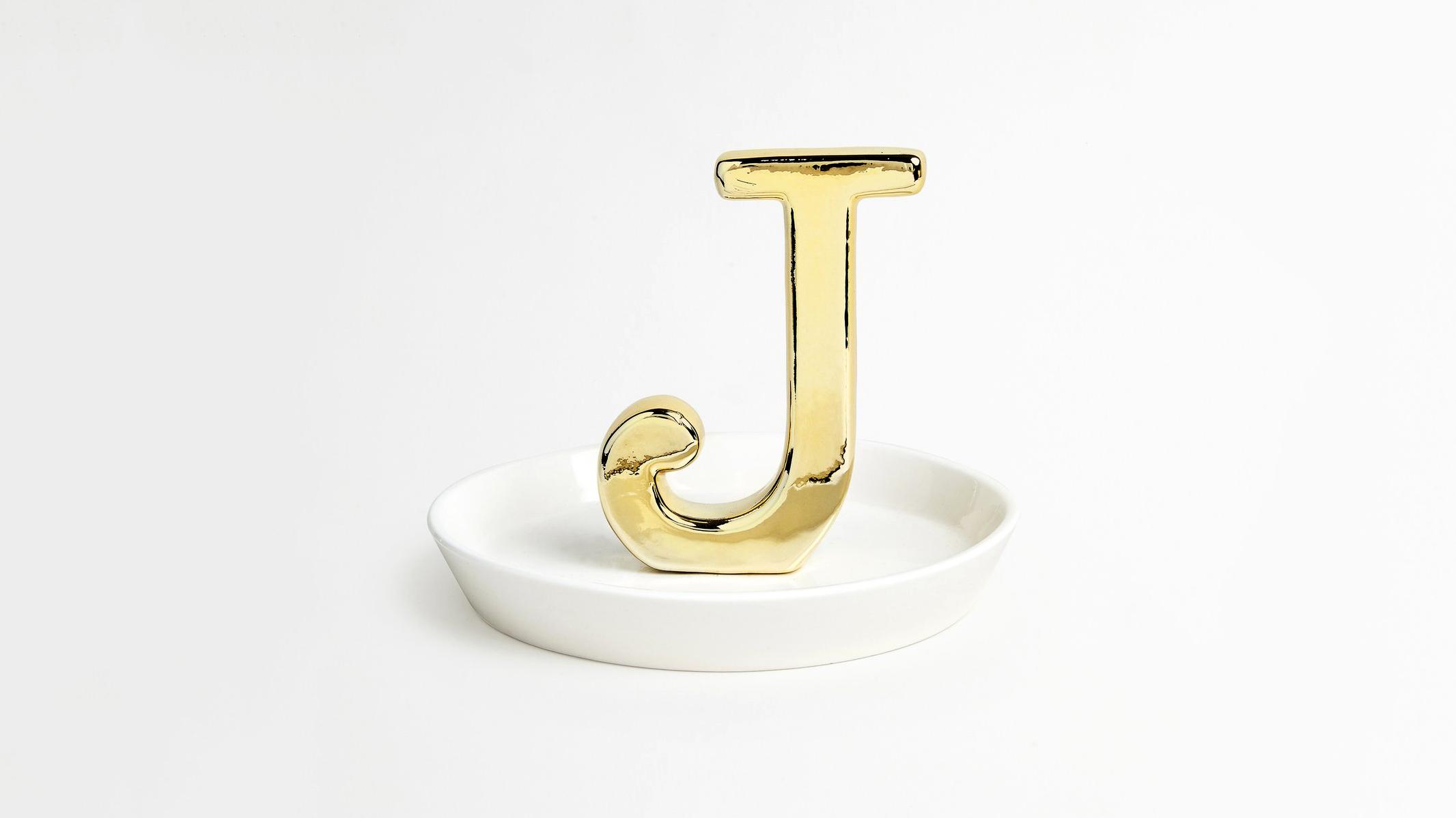 personalized engagement gift trinket dish J