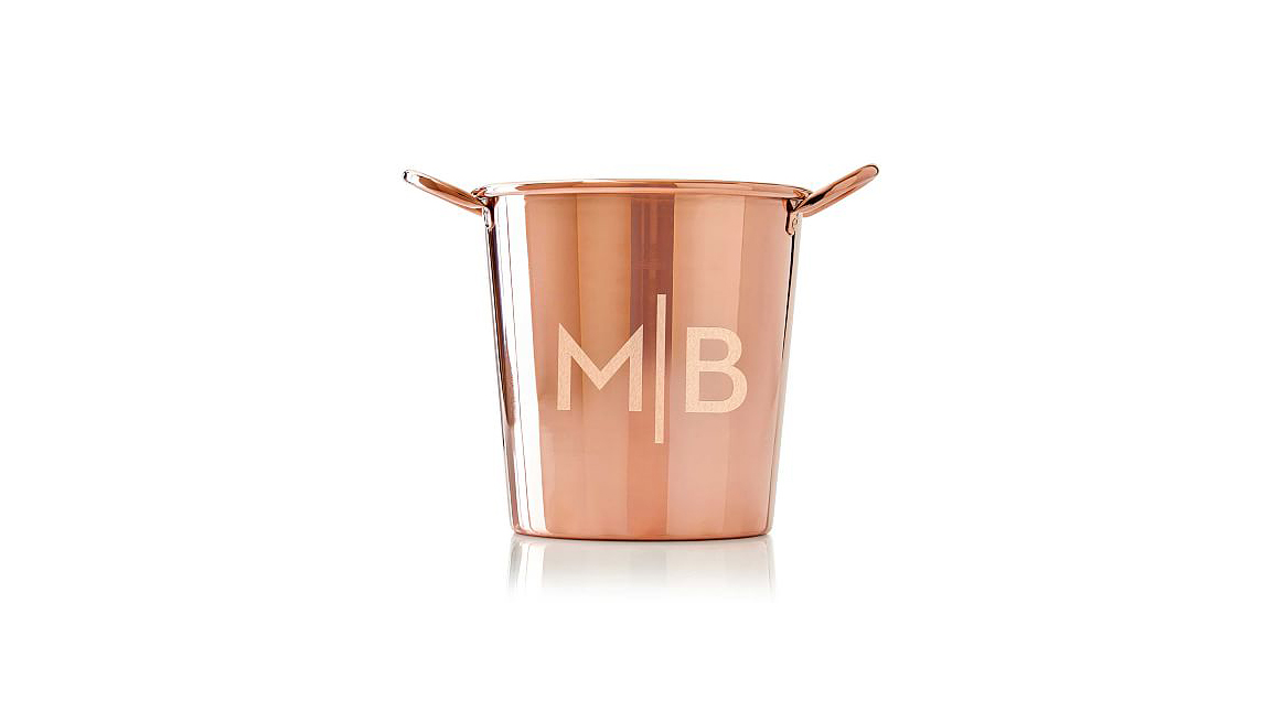 personalized engagement gift copper ice bucket