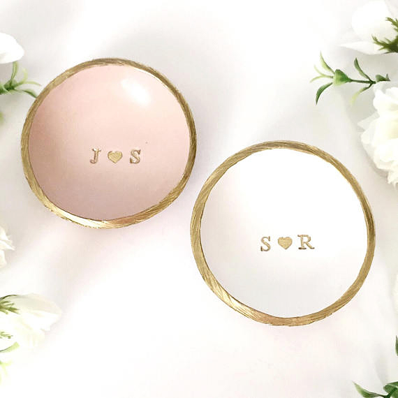 personalized engagement gift ring dish