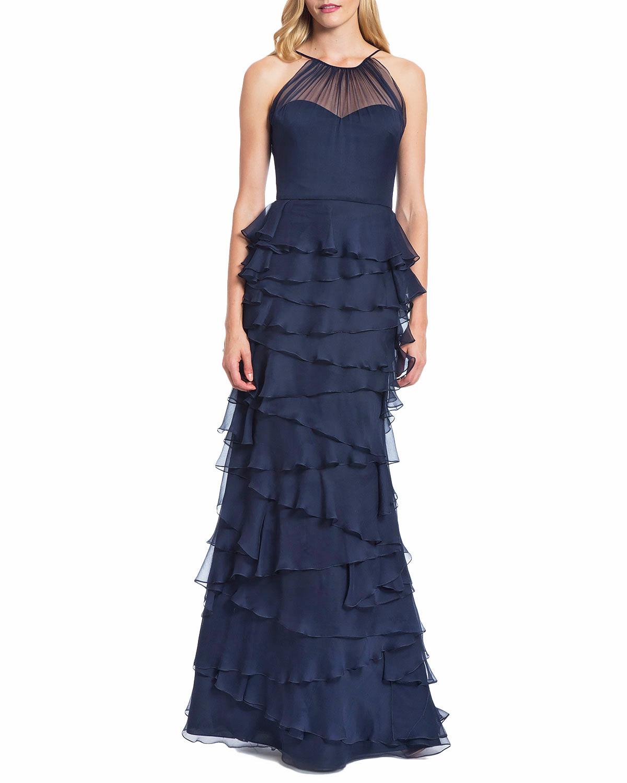 Badgley Mischka Ruffle Gown