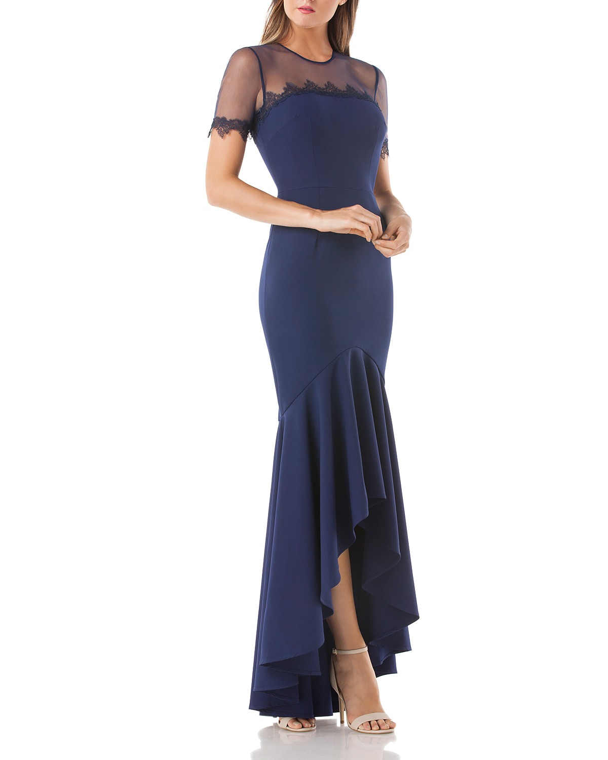 Navy Mother of the Bride Dress, JS Collections Gown with Illusion Top