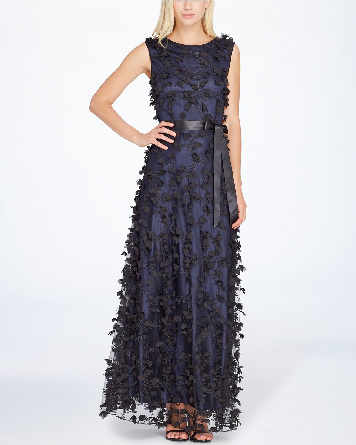Tahari ASL Floral Applique Gown
