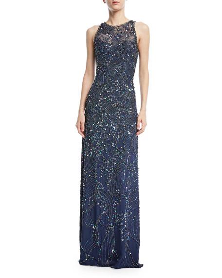 Jenny Packham Sleeveless Beaded Gown
