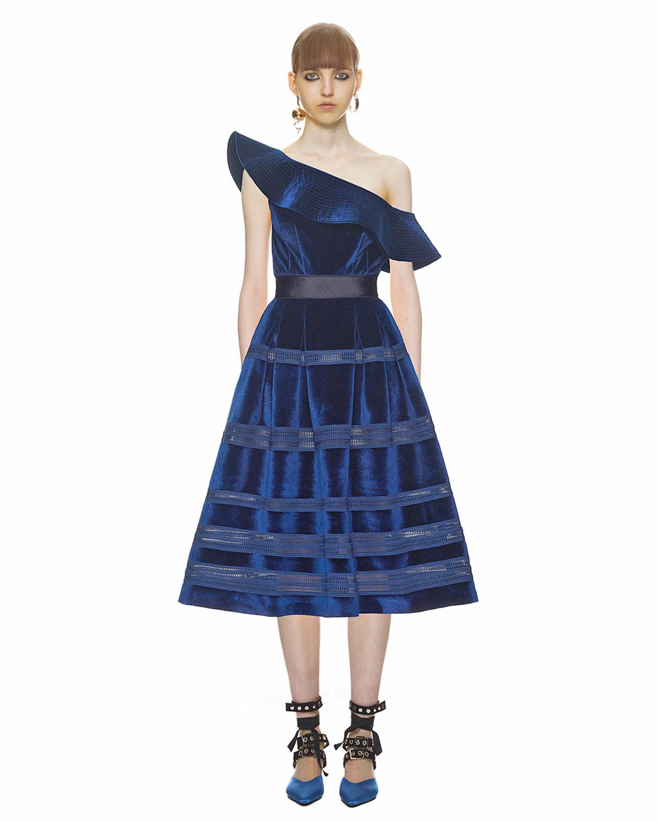 Self-Portrait Off-the-Shoulder Velvet Dress